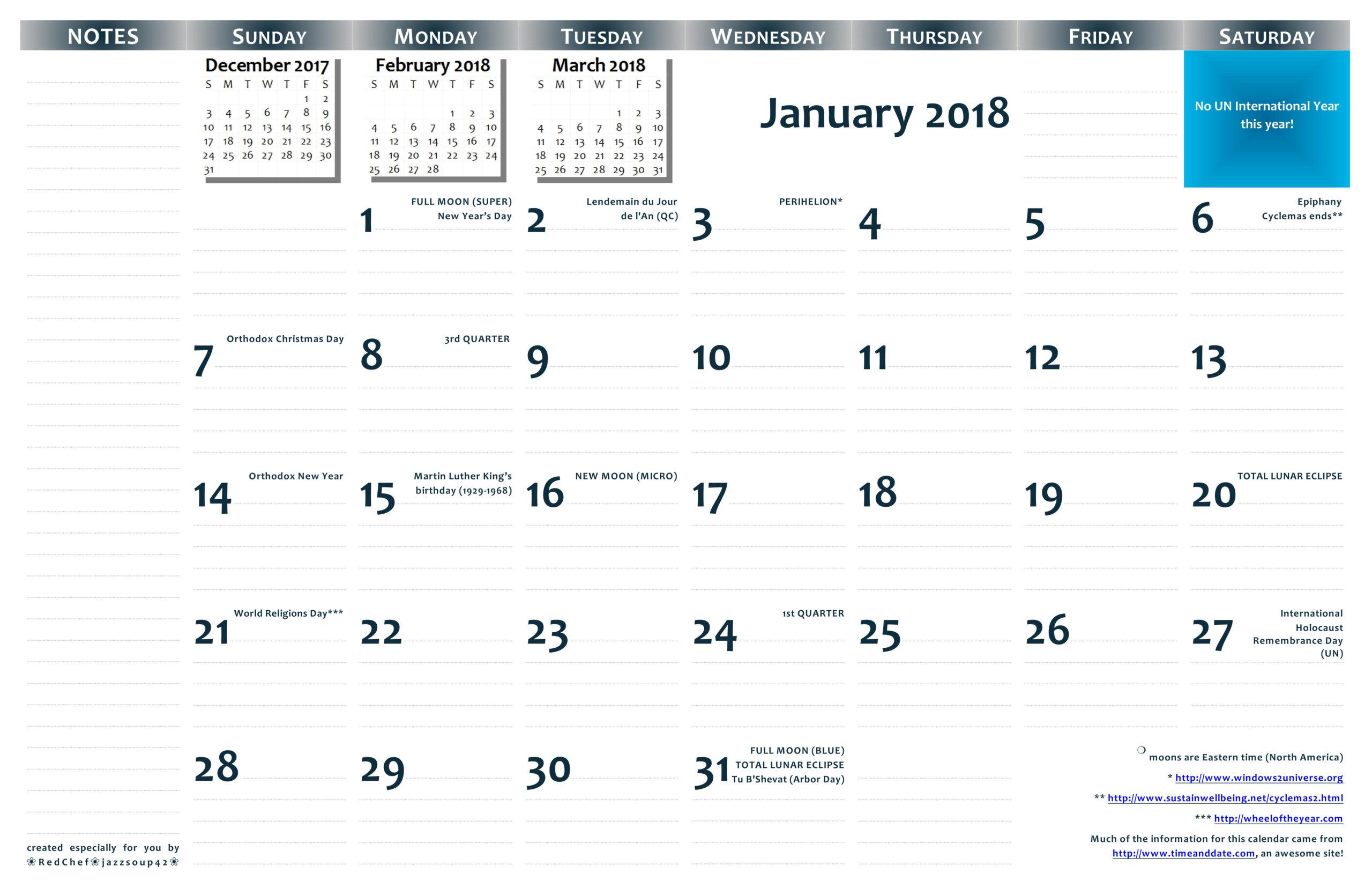 2018 11×17 Printable Wall Calendar — Pdf Format   Jazzsoup42