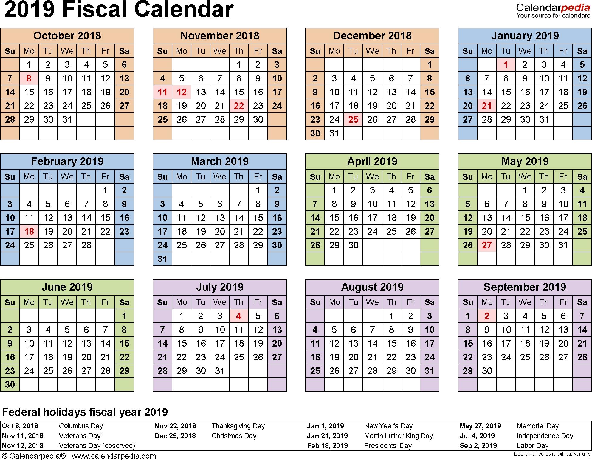 2019-2020 Calendar Financial Week Numbers - Calendar