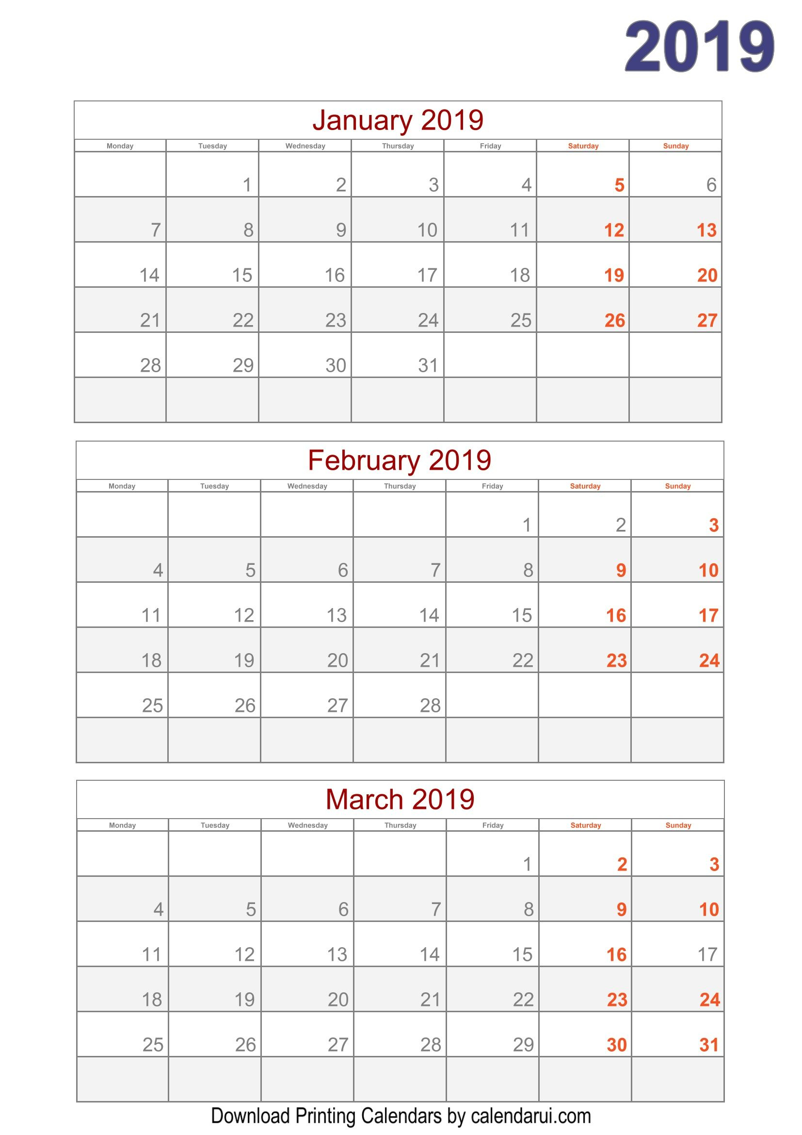 2019 Quarterly Calendar Printable For Free | Quarterly