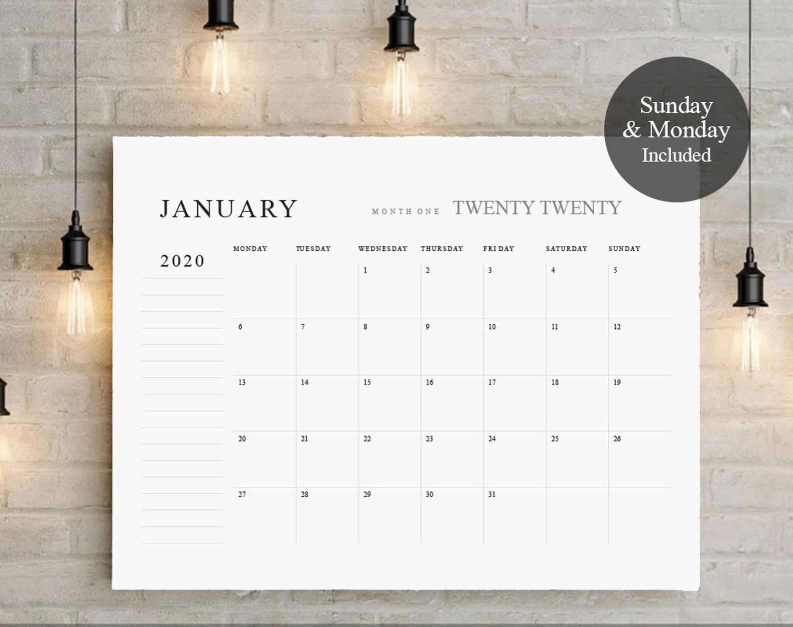 2020 2021 Big Calendar Large Wall Calendarprintable | Etsy