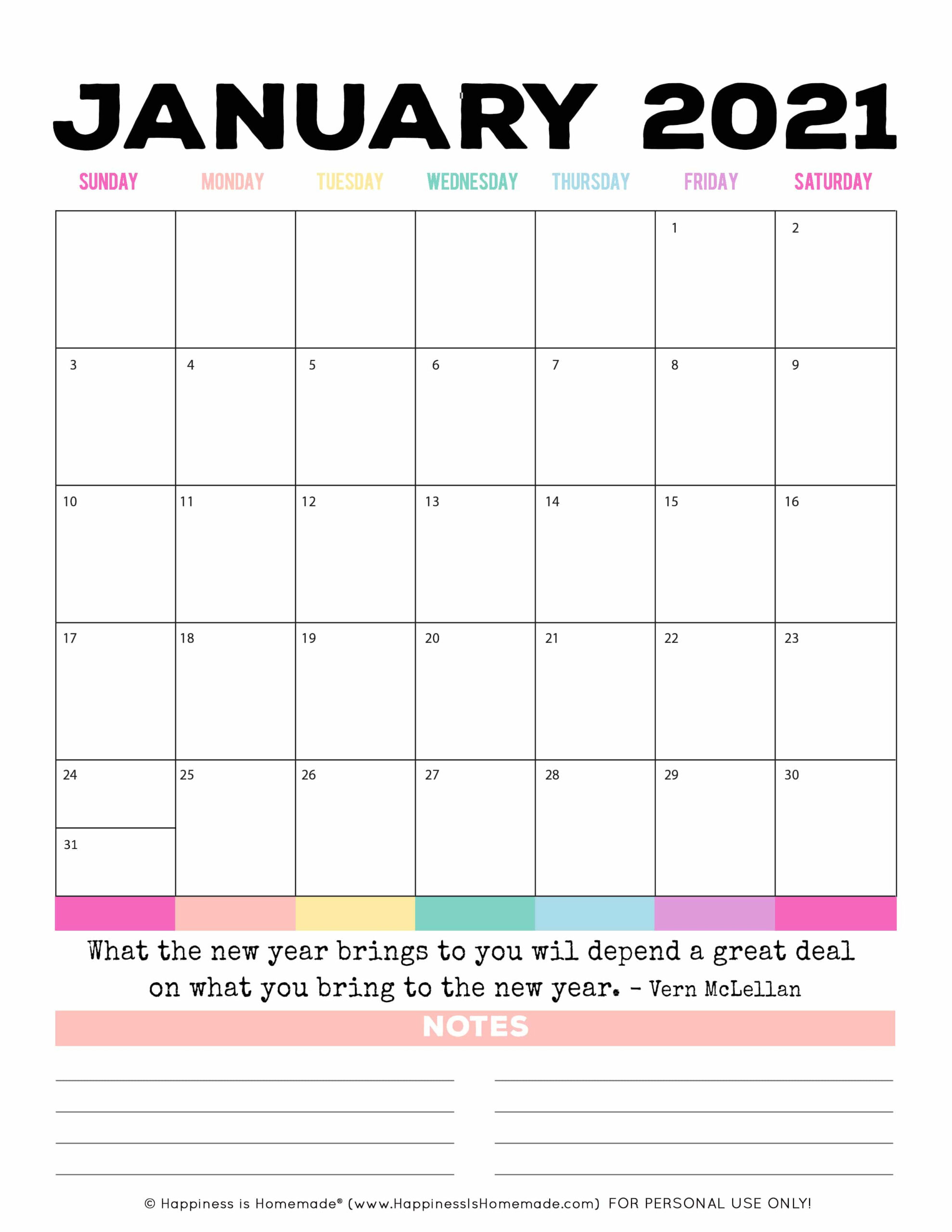 2020 - 2021 Free Printable Monthly Calendar - Happiness Is