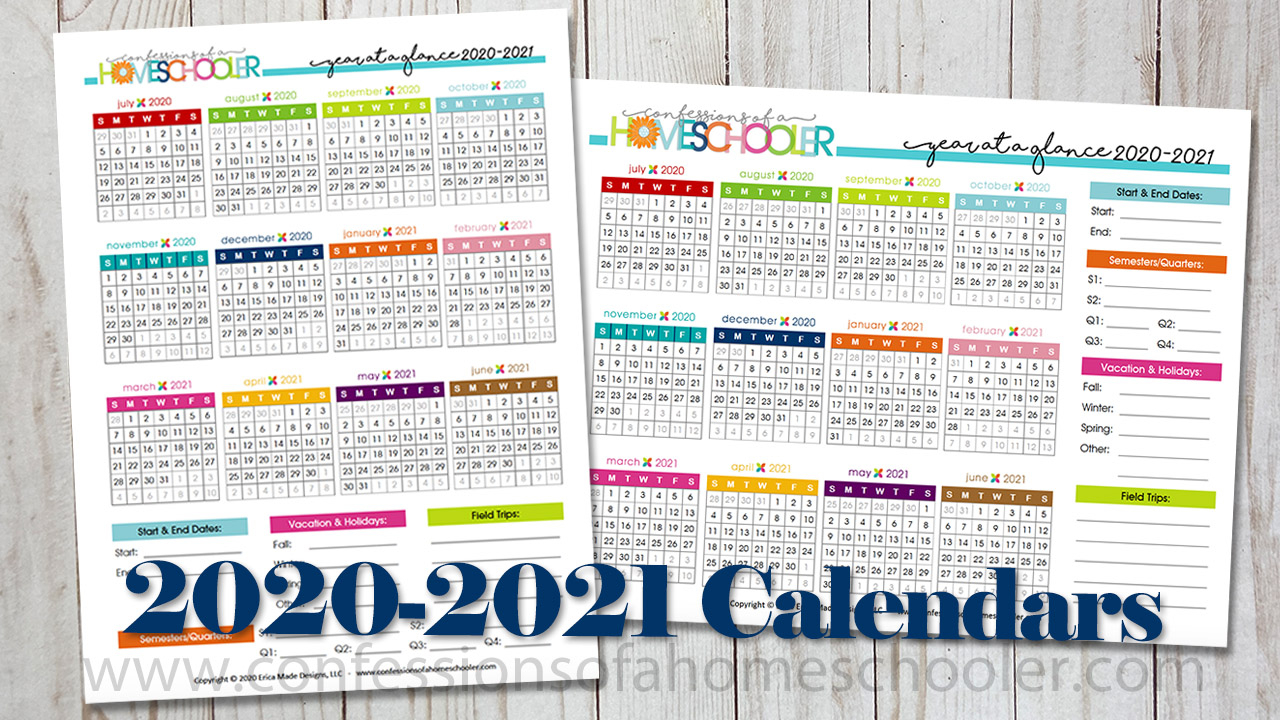 2021 2021 Academic Year At A Glance Printable