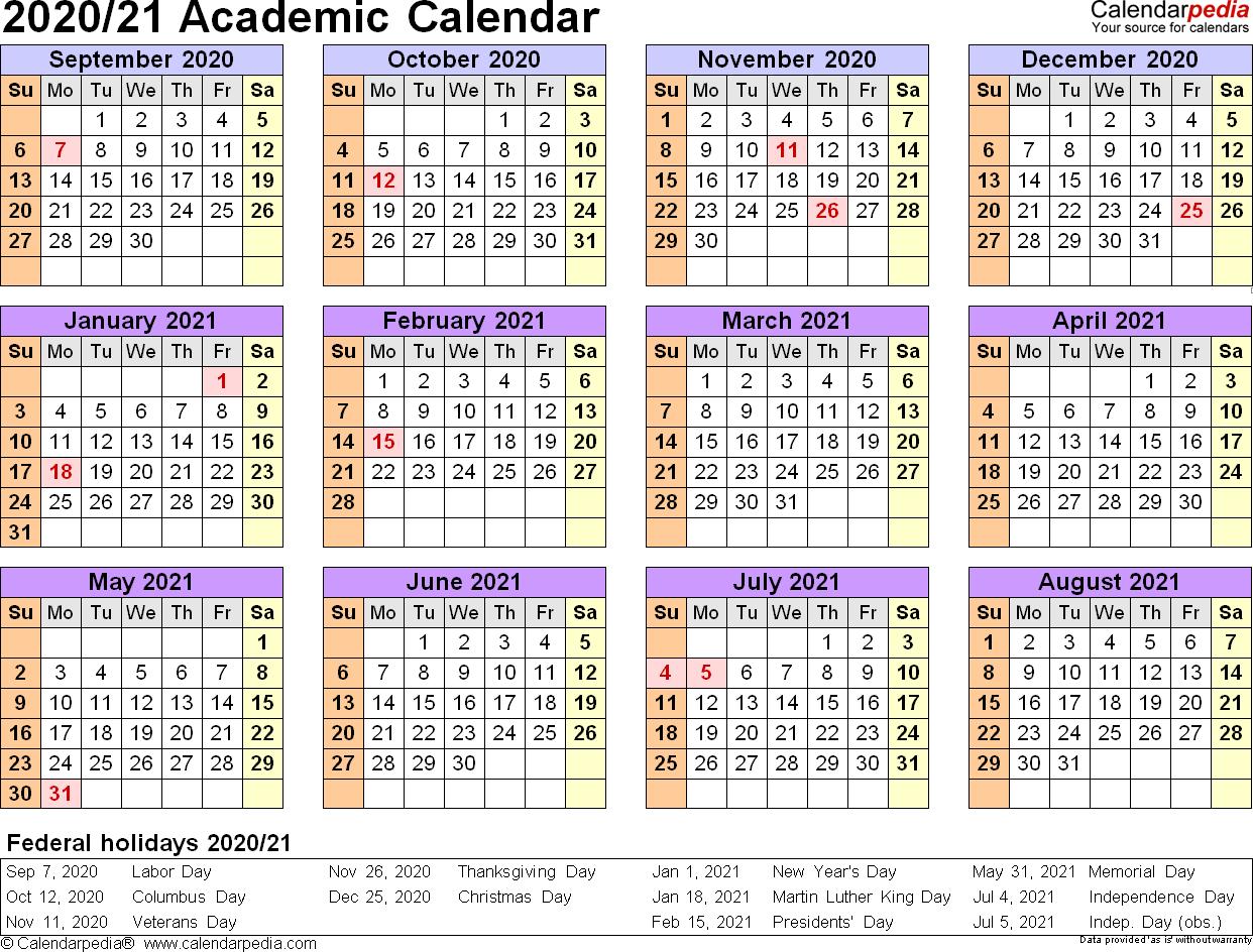 2020 Academic Calendar In 2020 | Calendar Template