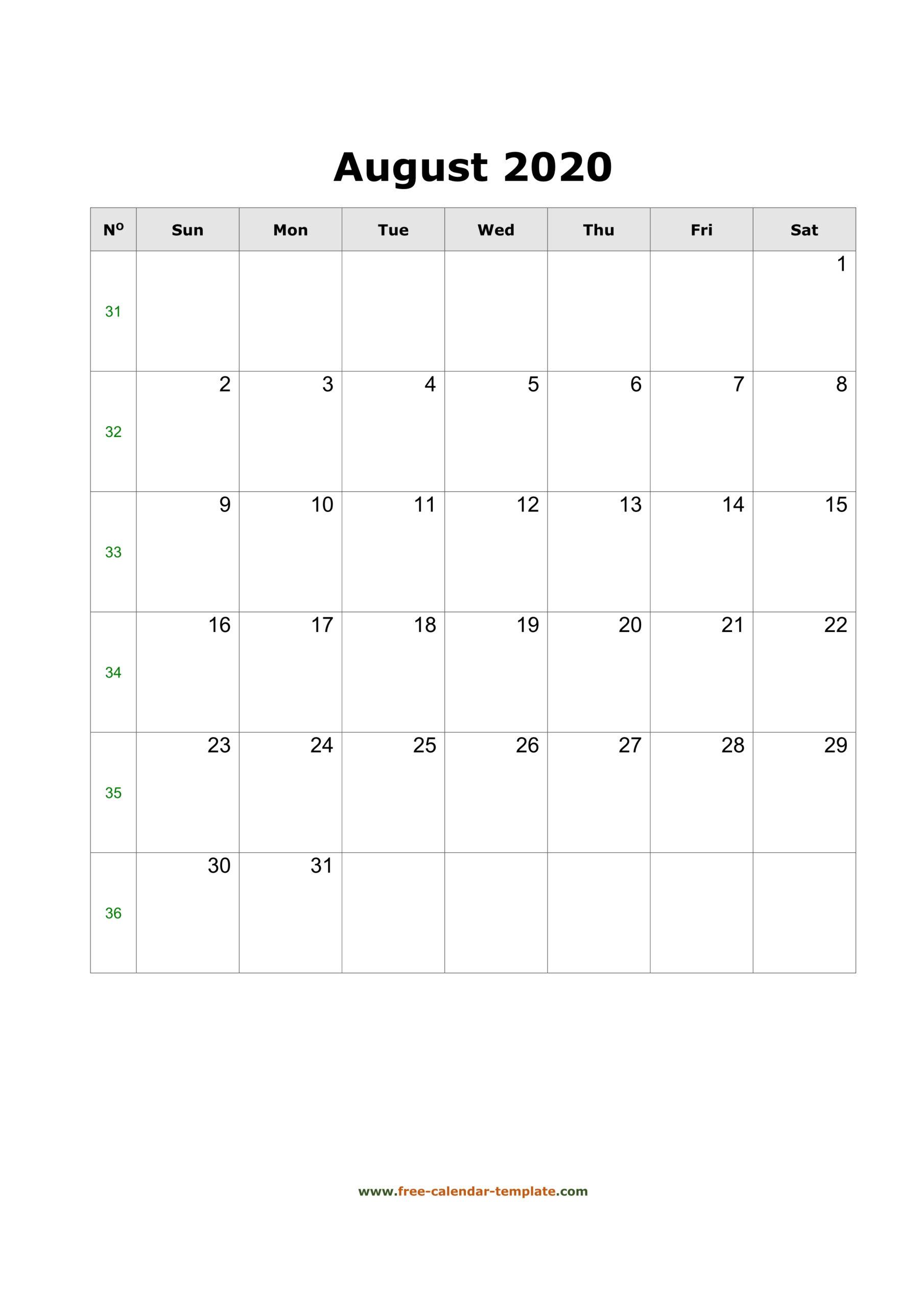 2020 August Calendar (Blank Vertical Template) | Free