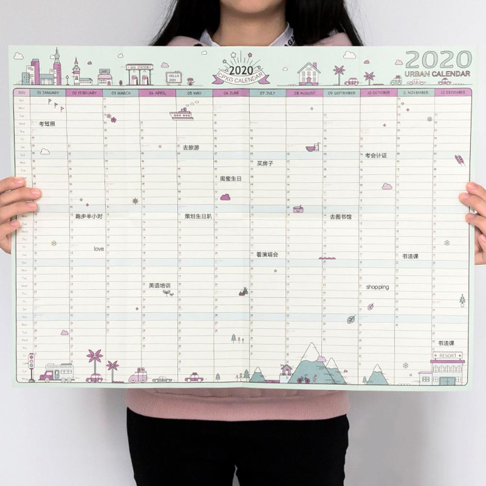 2020 Creative Agenda 365 Days Paper Wall Calendar Daily Planner Notes Very  Large Study School Supplies