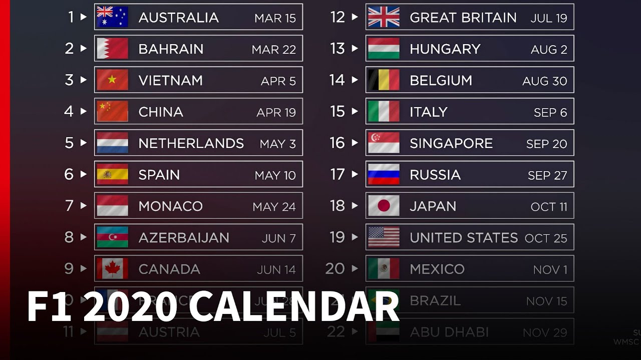 2020 F1 Calendar - What'S New?