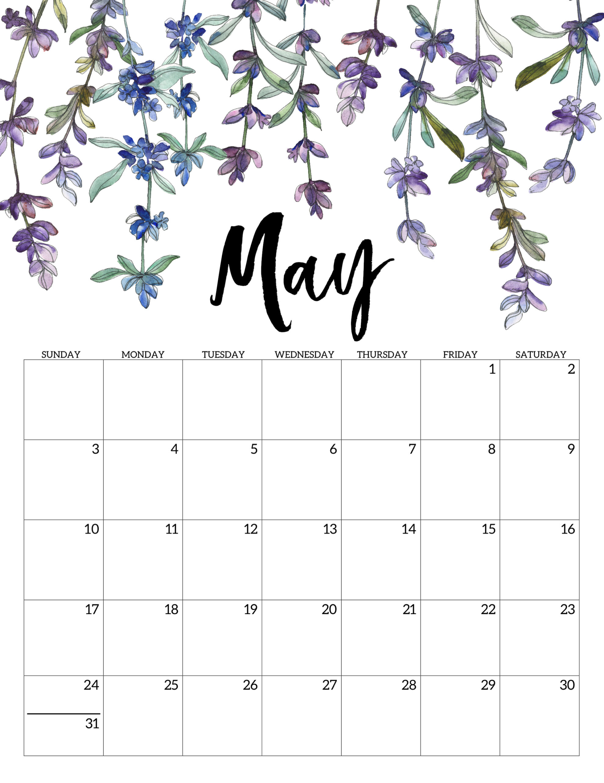2020 Free Printable Calendar - Floral | Paper Trail Design