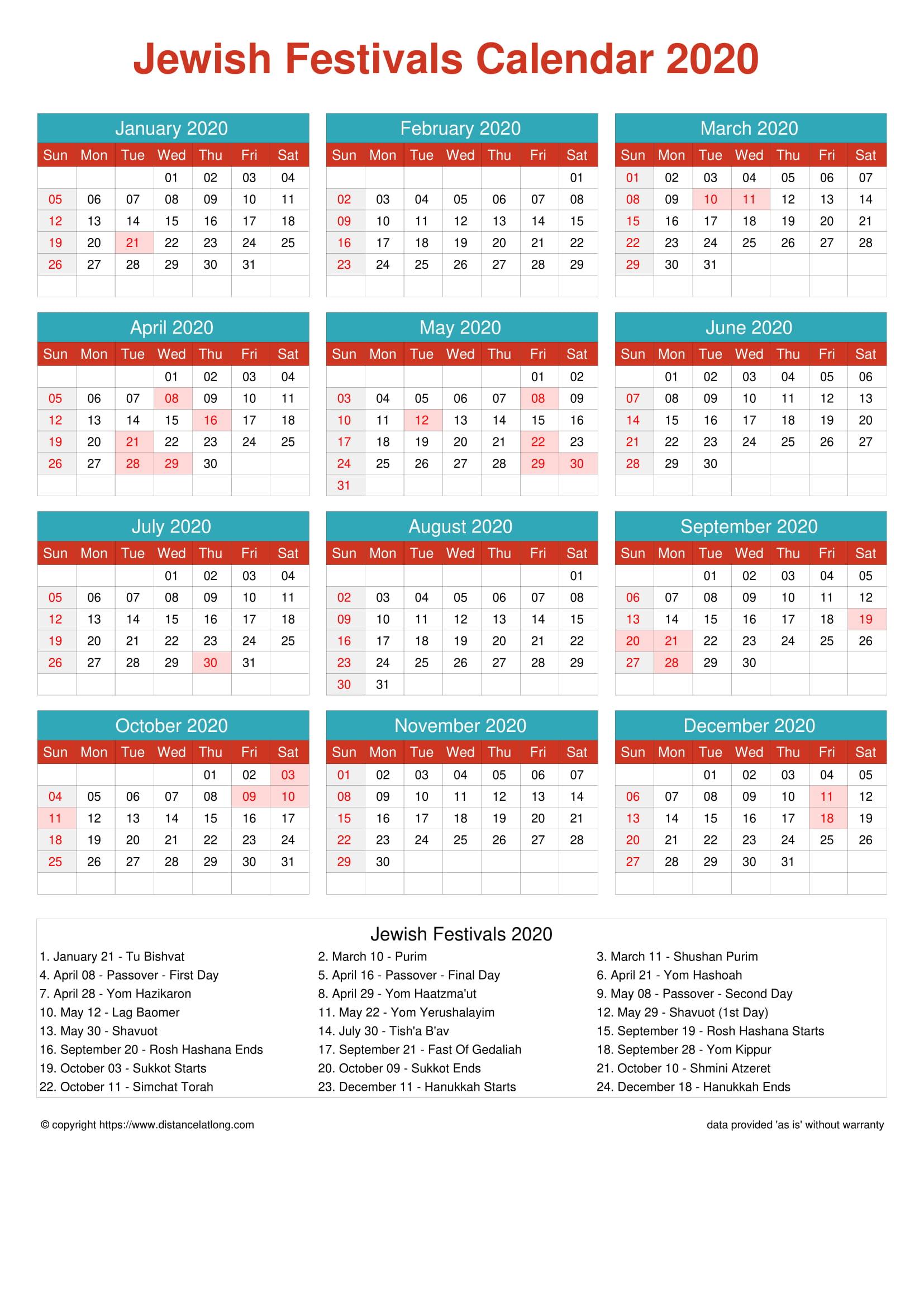 2020 Jewish Religious Calendar Jewish Religious Portrait