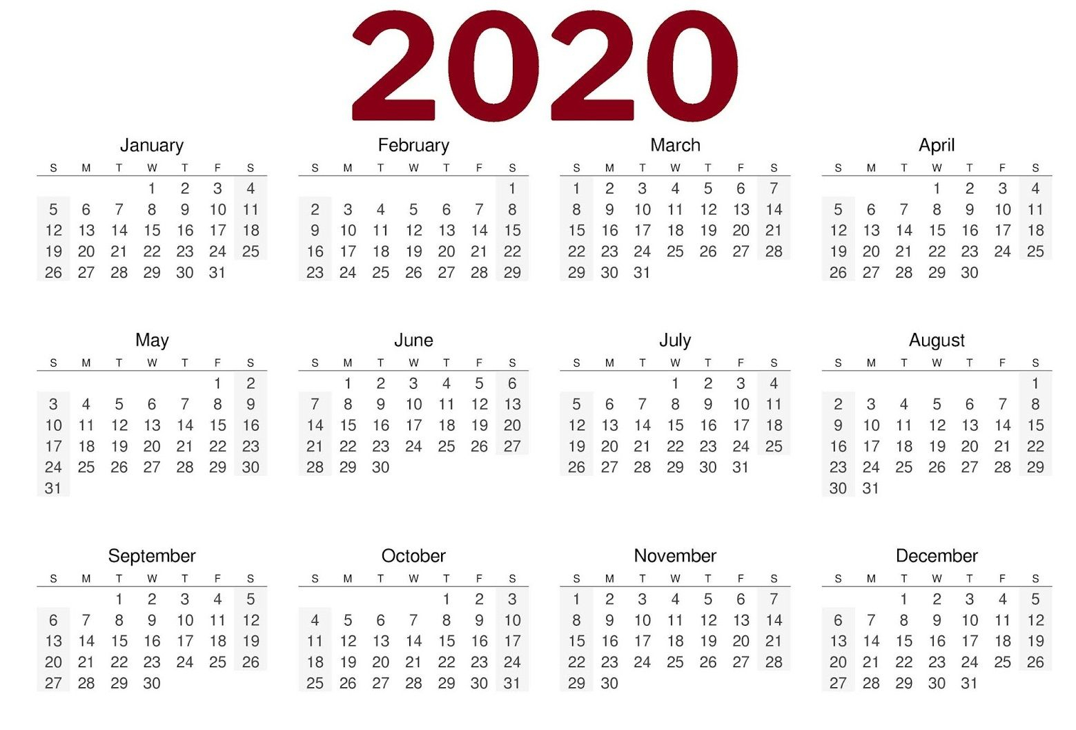 2020 One Page Landscape Calendar | Yearly Calendar Template