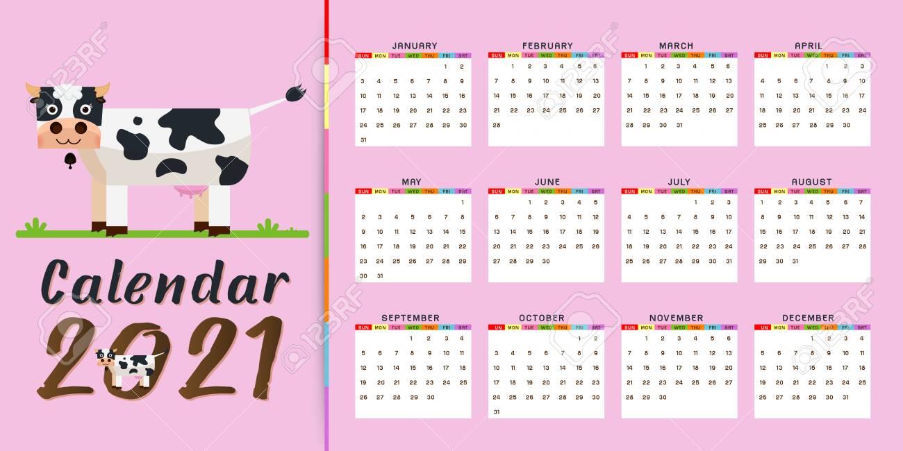 2021 Annual Calendar 12 Months Calendar Template With Kawaii..