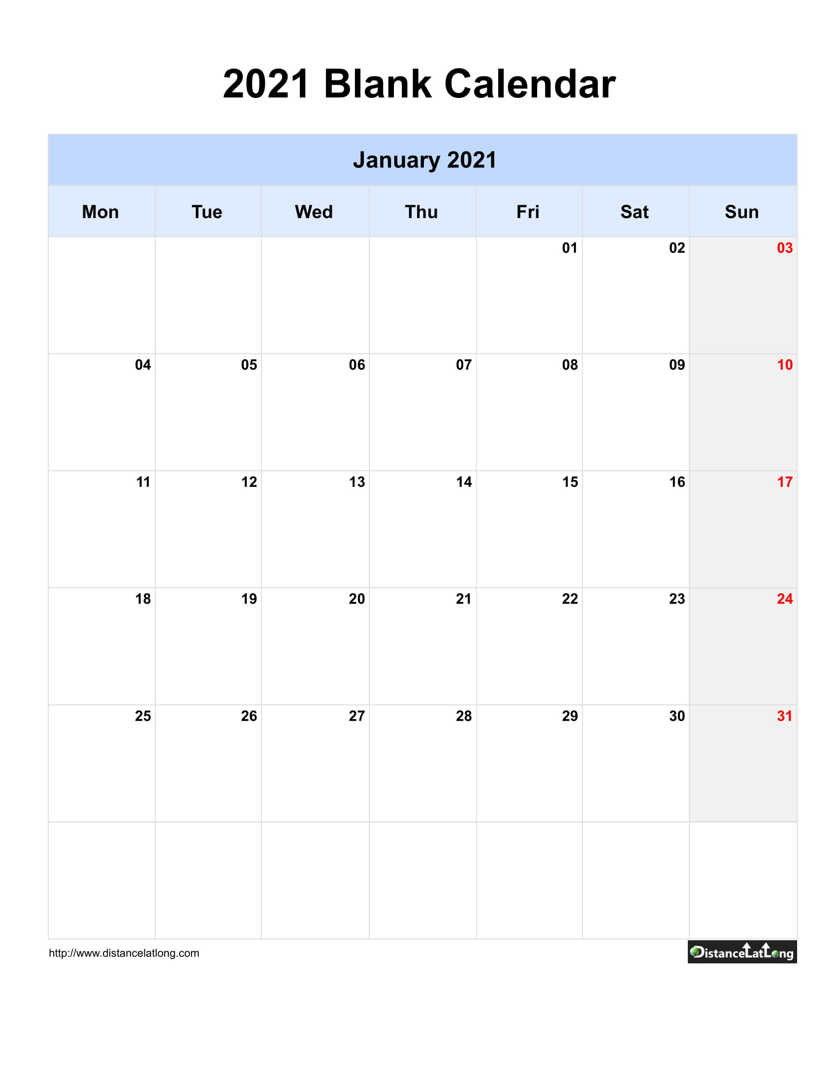 2021 Blank Calendar Blank Portrait Orientation Free