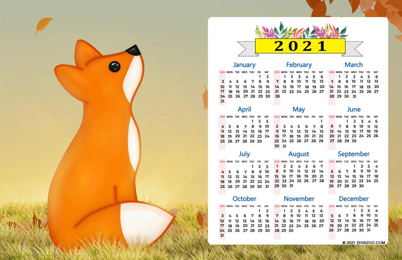 2021 Calendar 11X17 Printable Template: Red Fox Kawaii