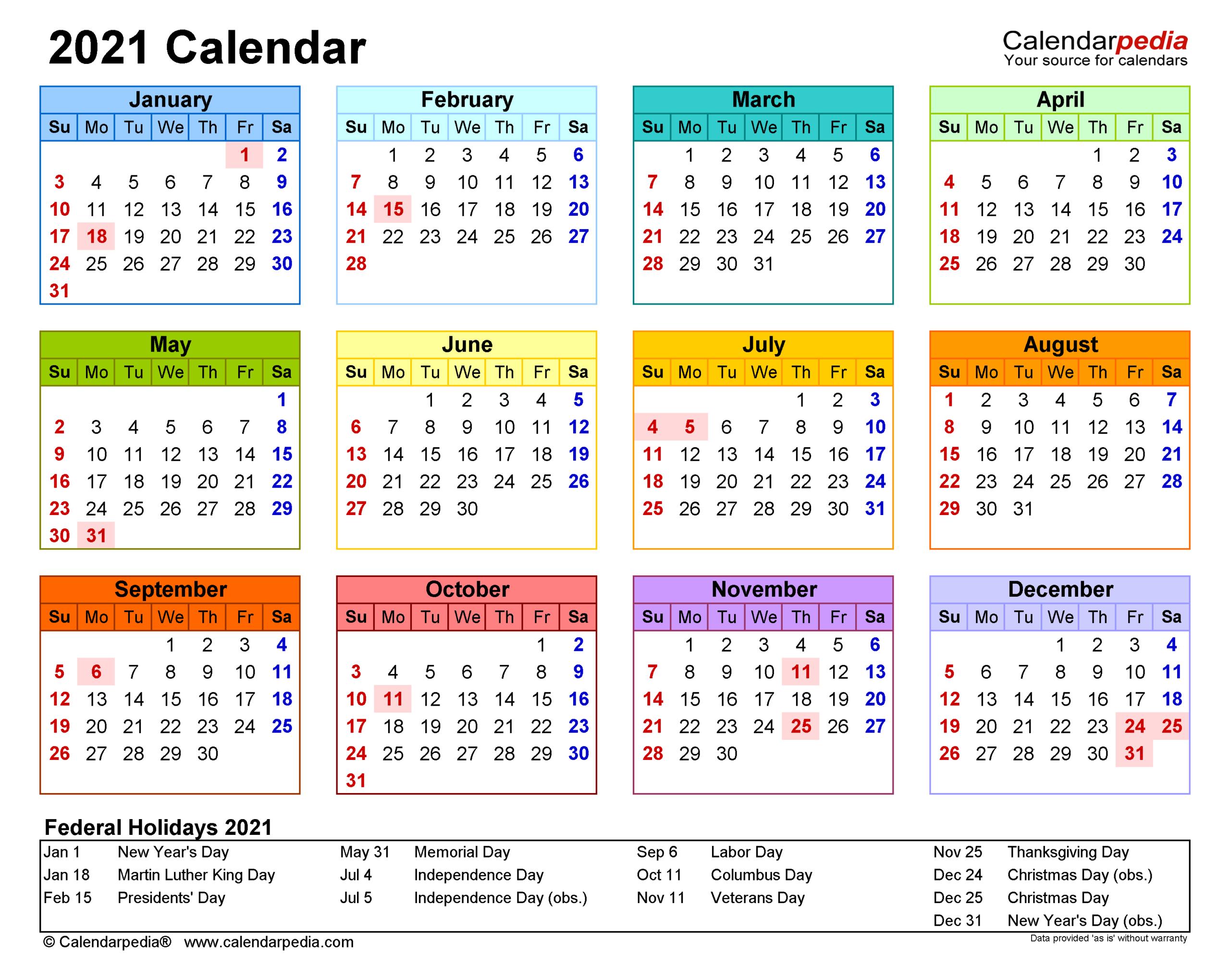 2021 Calendar - Free Printable Excel Templates - Calendarpedia