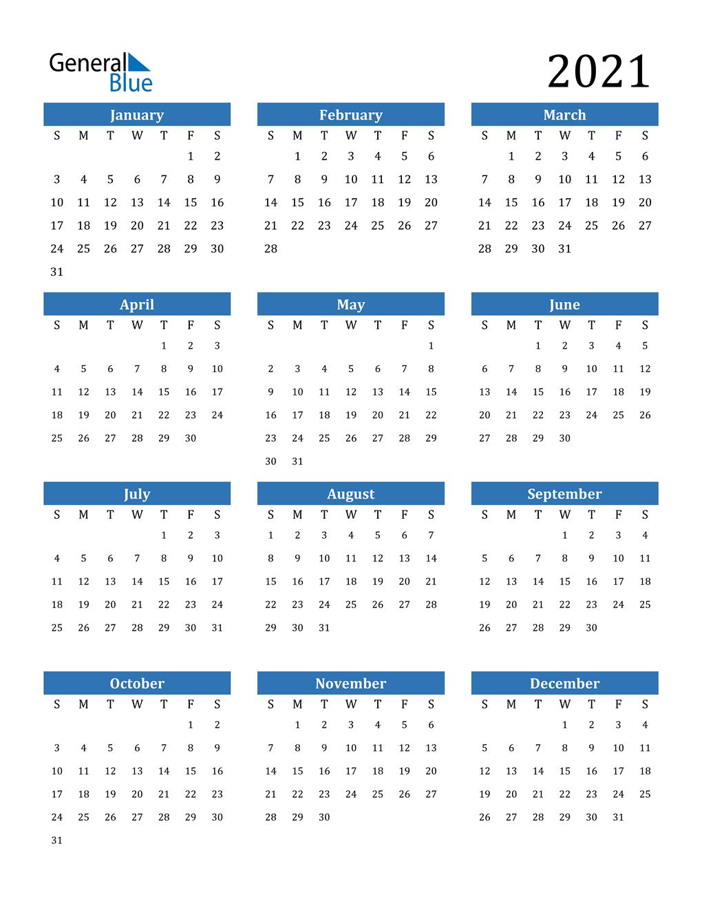 2021 Calendar (Pdf Word Excel)