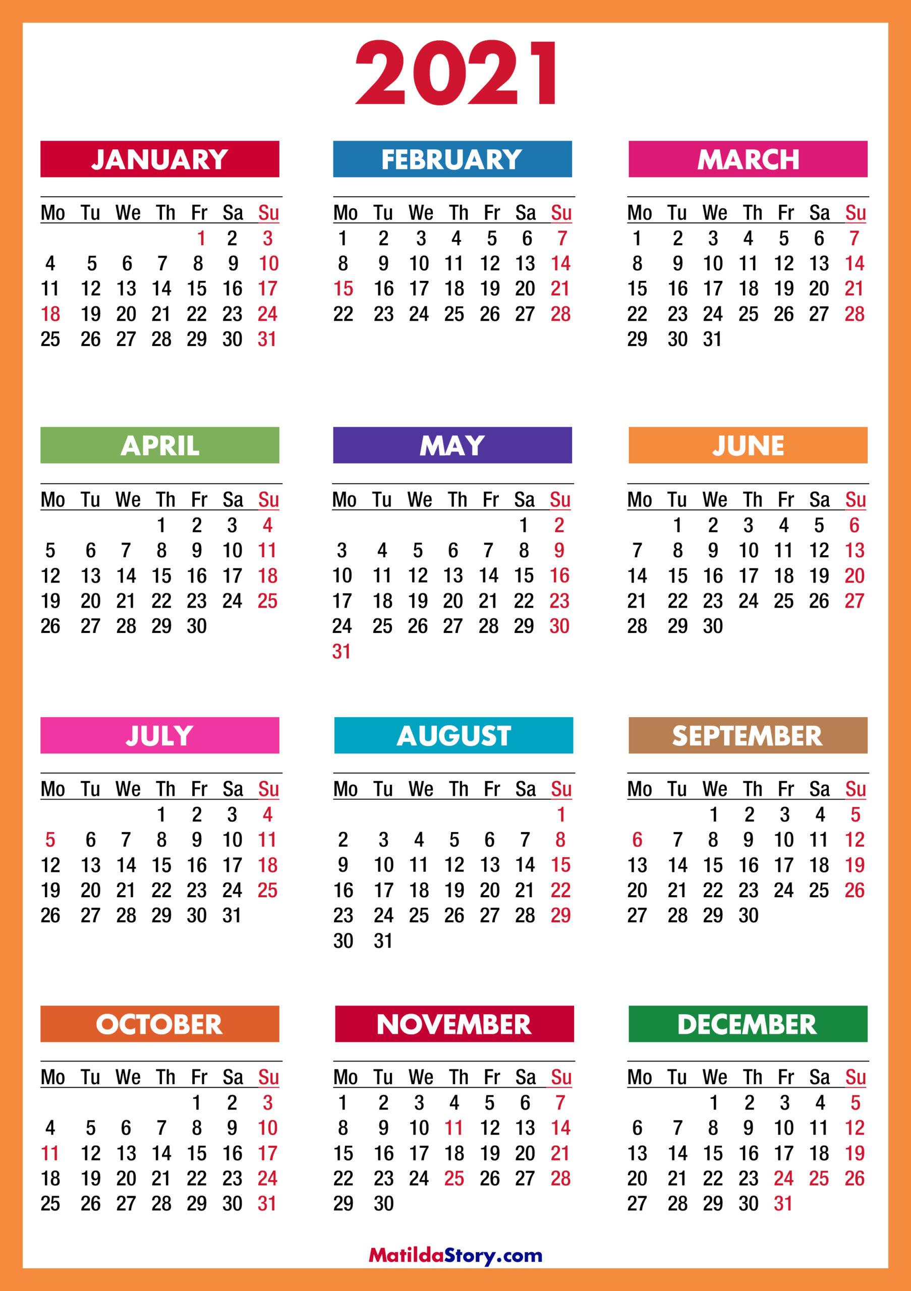 2021 Calendar Printable Free Colorful Red Orange – Monday