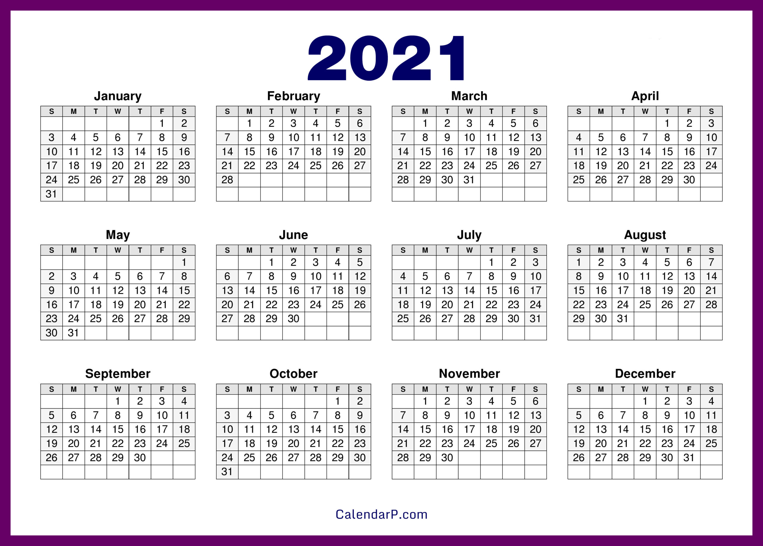 2021 Calendar Printable Free Hd – Purple – Calendarp