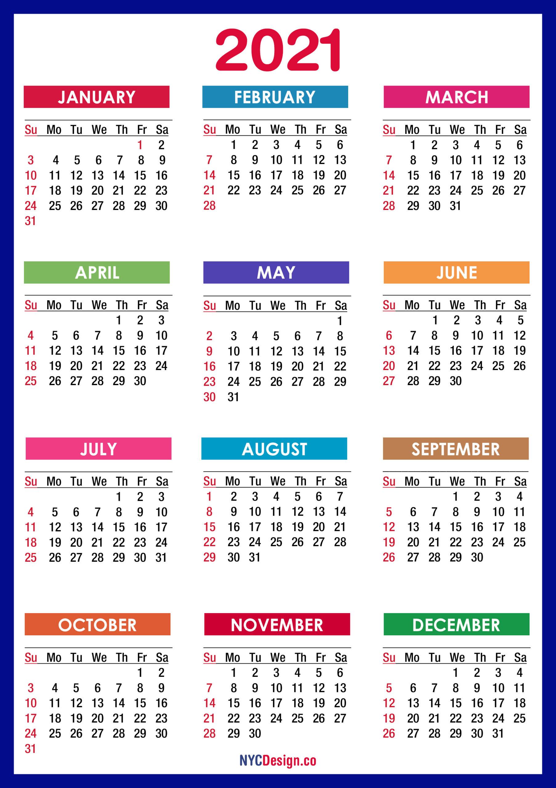 2021 Calendar Printable Free Pdf Colorful Blue Green