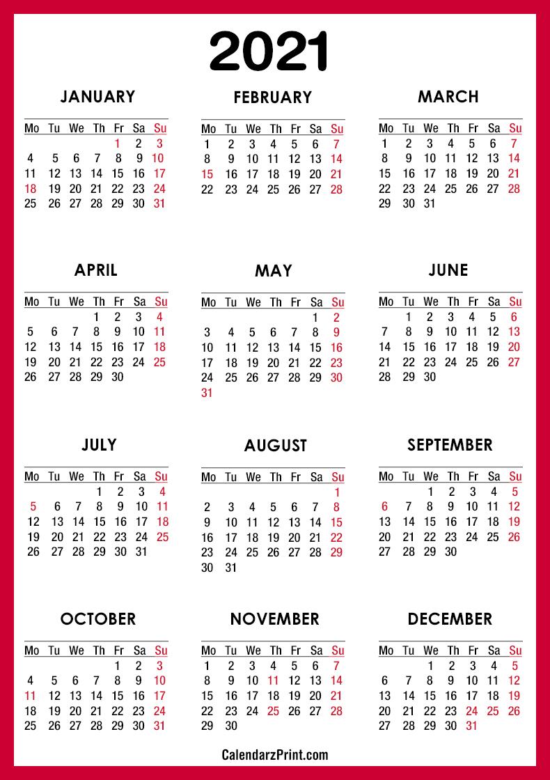 2021 Calendar Printable Free With Usa Holidays Red – Monday