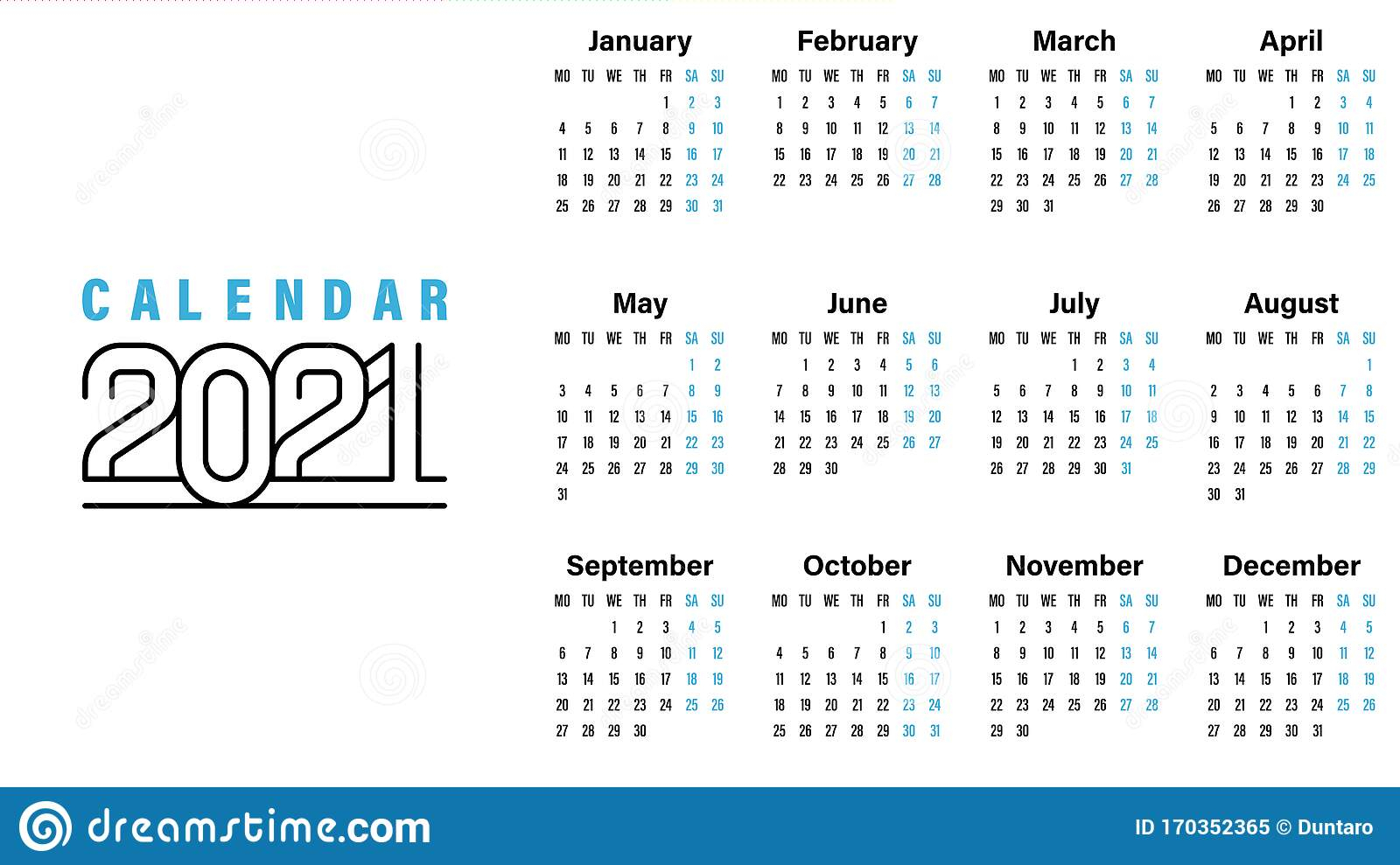 2021 Calendar Template Simple Design Stock Vector