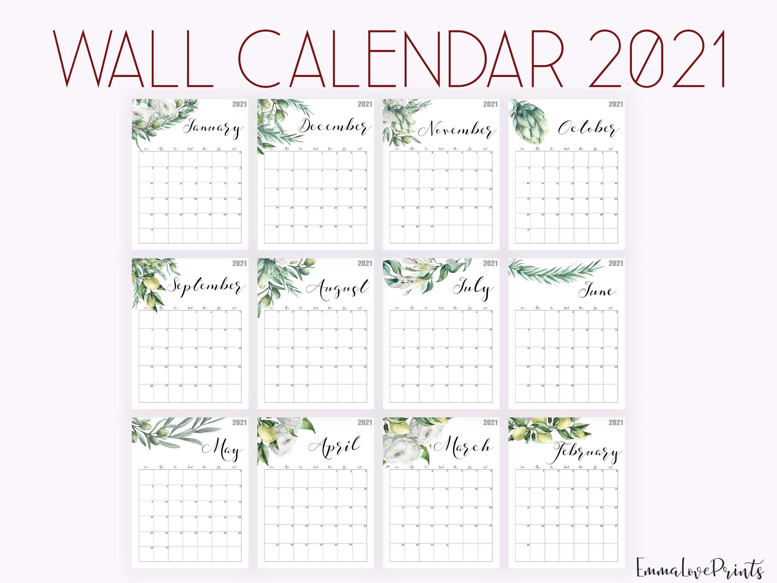 2021 Calendar Watercolour Calendar 2021 Botanical Wall