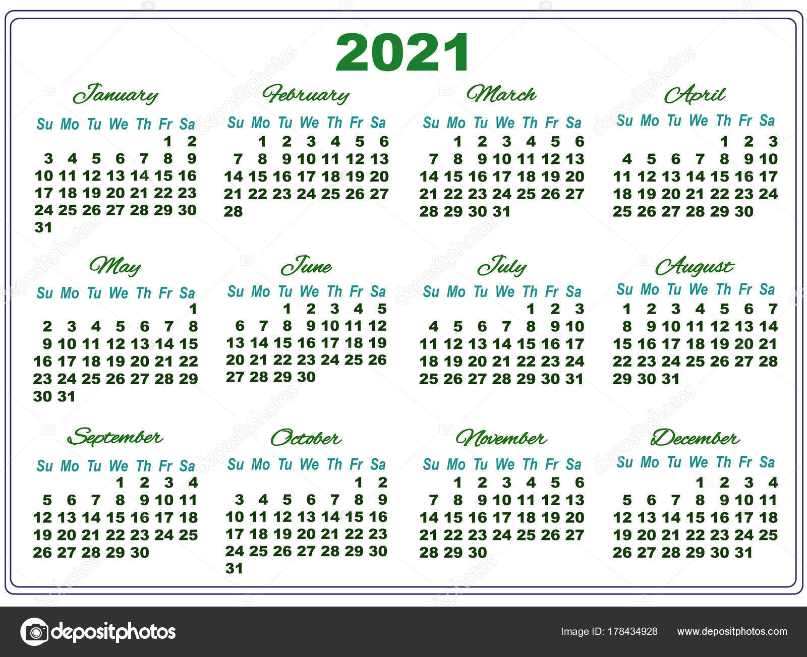 2021 Calendar With Big Numbers 178434928