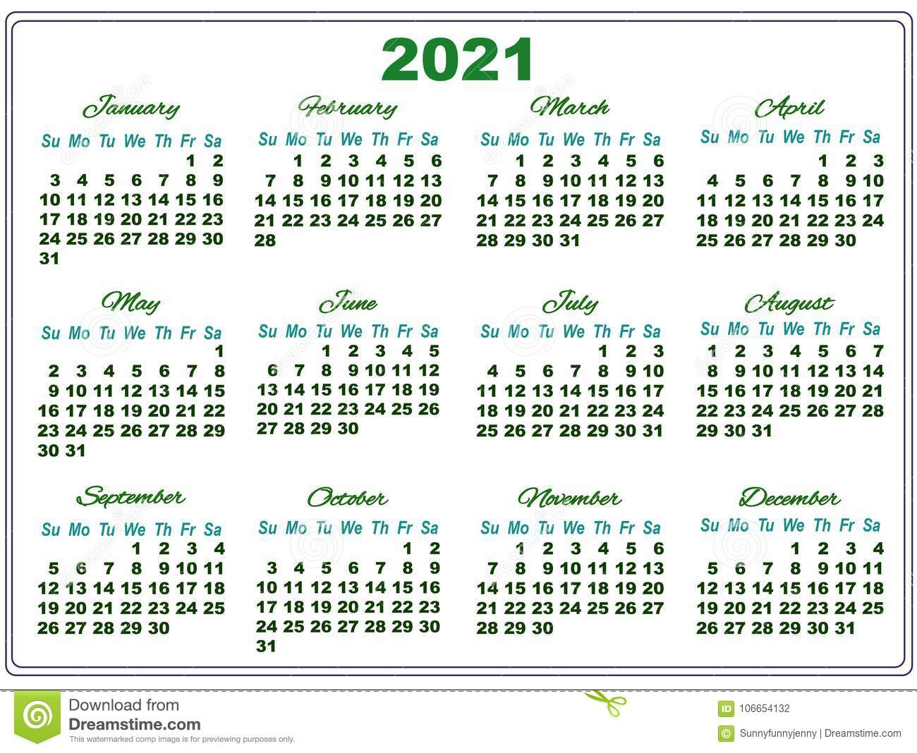 2021 Calendar With Big Numbers Stock Illustration