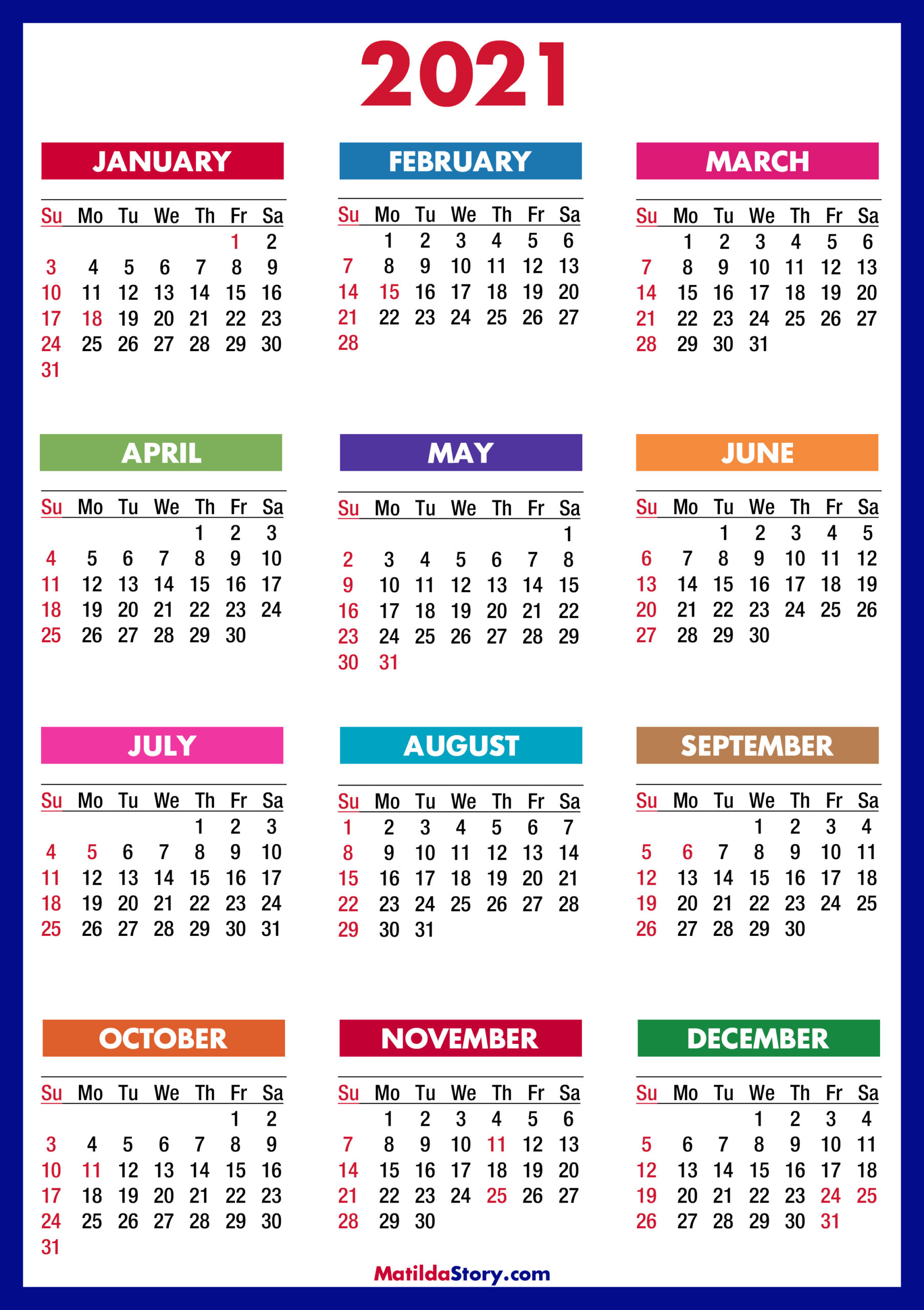 2021 Calendar With Holidays Printable Free Colorful Blue