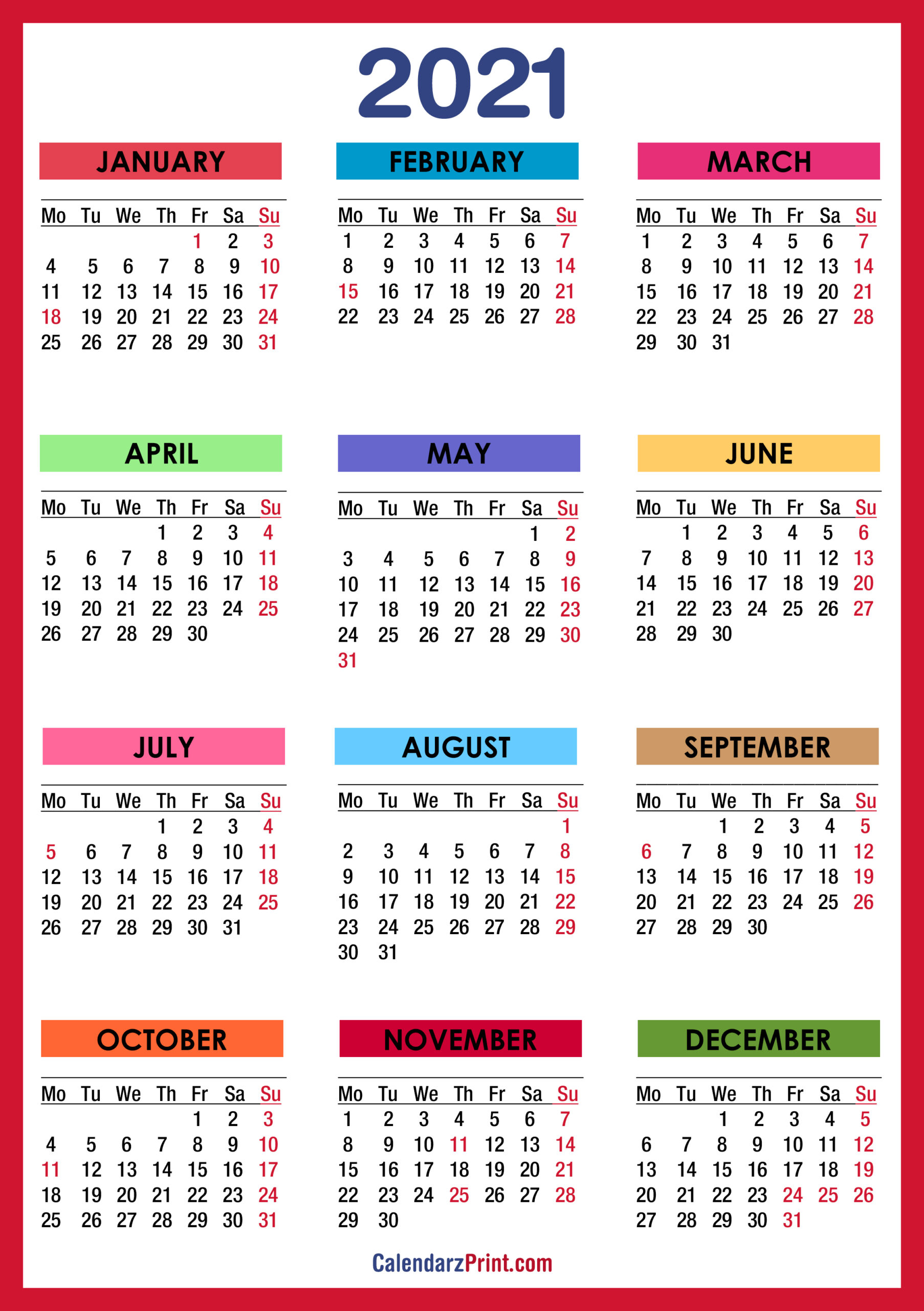 2021 Calendar With Holidays Printable Free Colorful Red