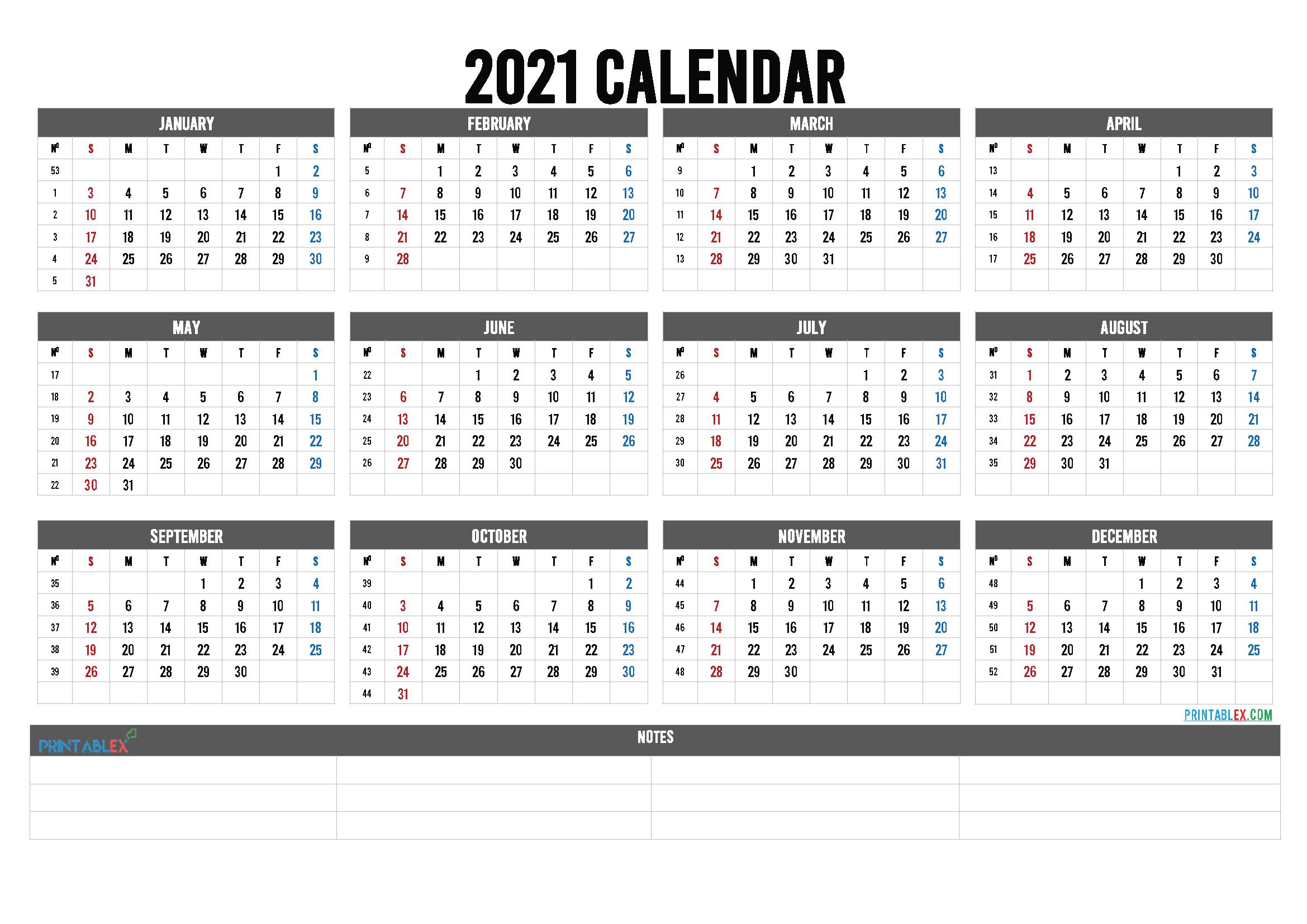 2021 Calendar With Week Numbers Printable – 6 Templates