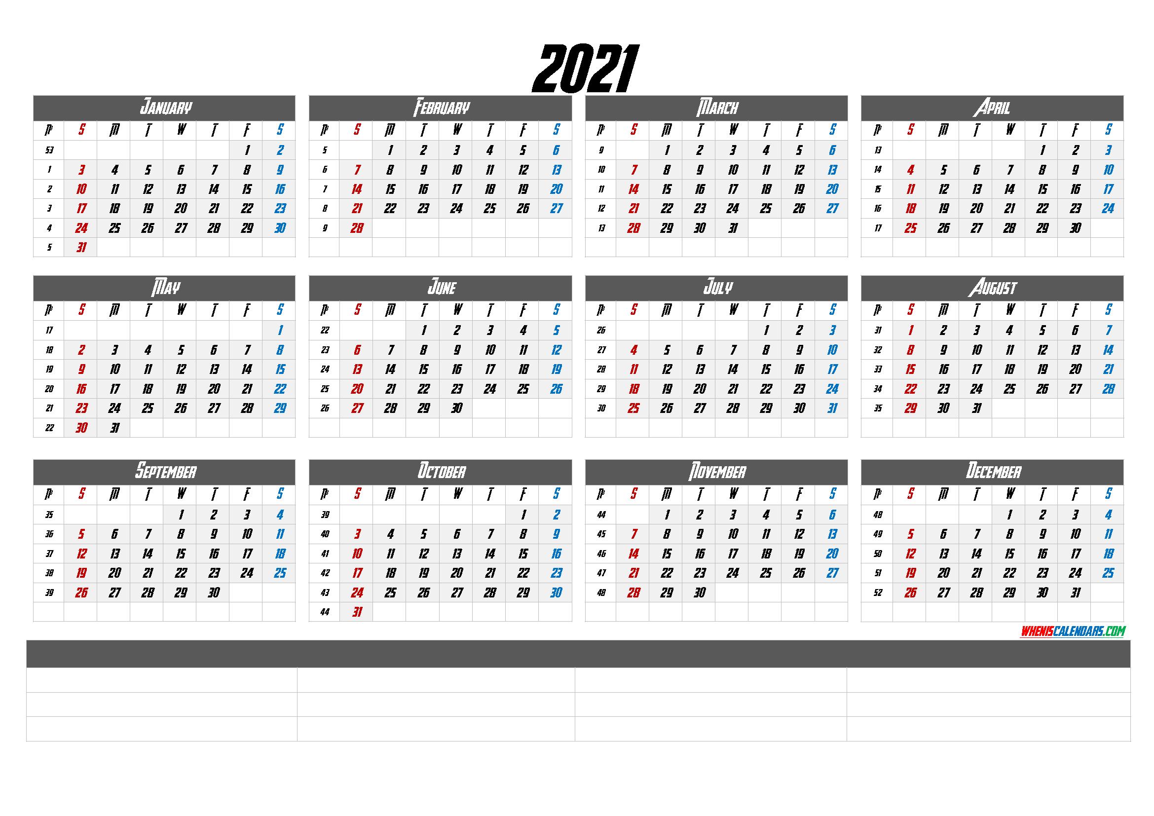 2021 Calendar With Week Numbers Printable – Calendraex