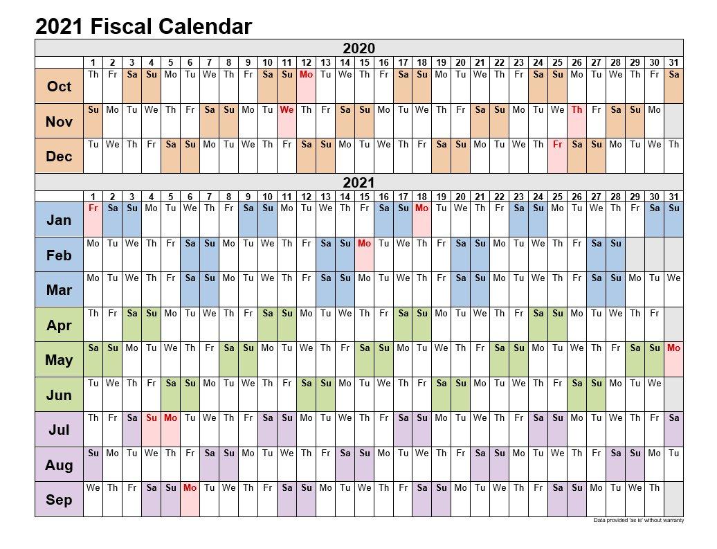 2021 Fiscal Calendars Landscape Format