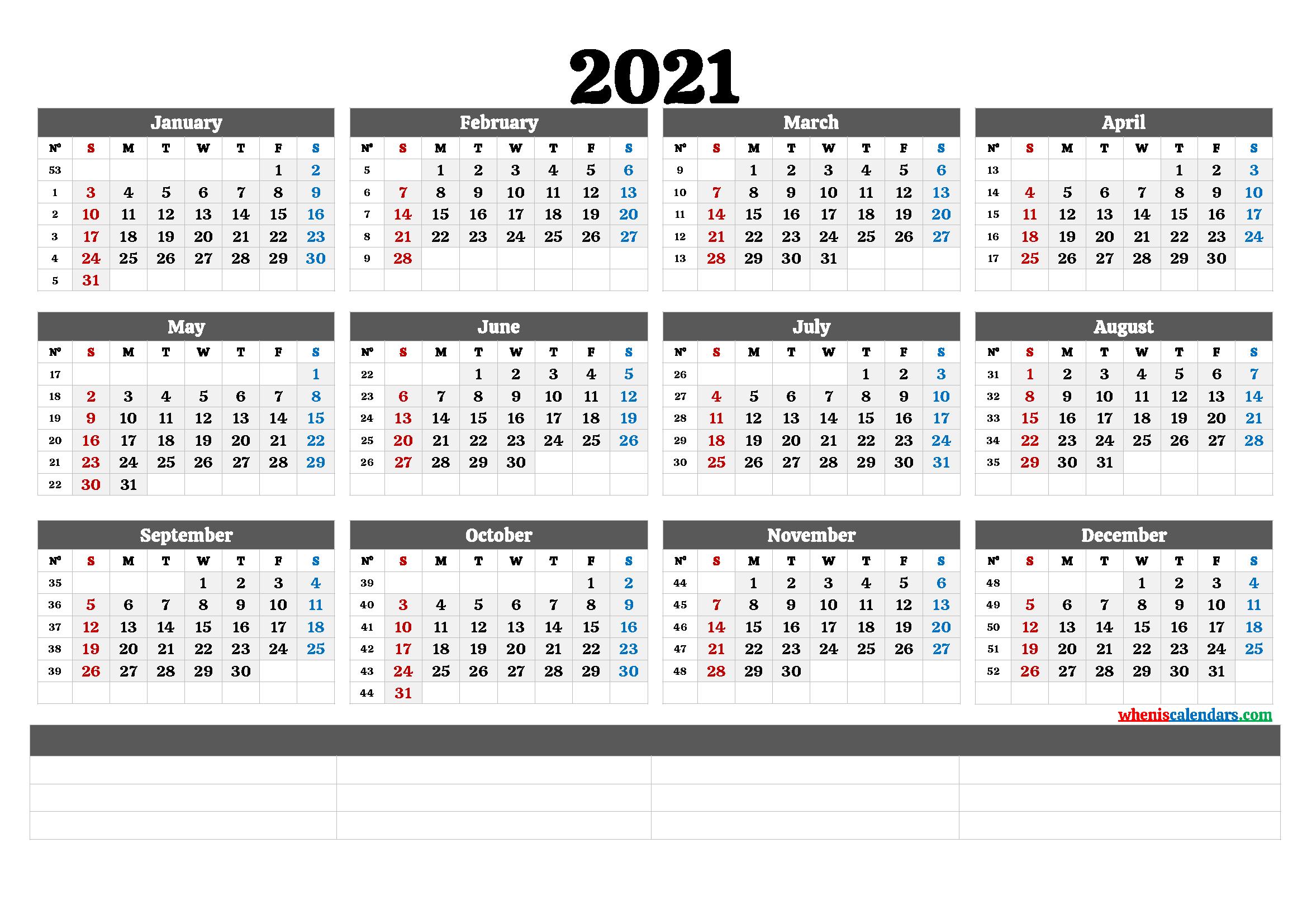 2021 Free Printable Yearly Calendar – Calendraex