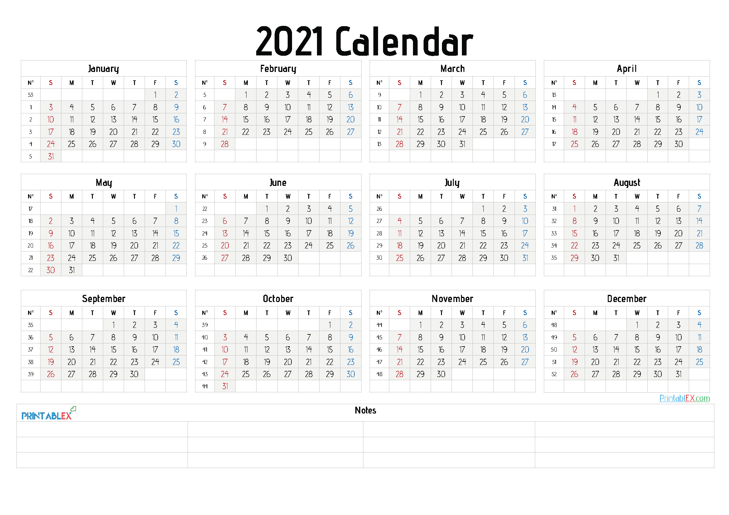 2021 Free Yearly Calendar Template Word – Free Printable 2020