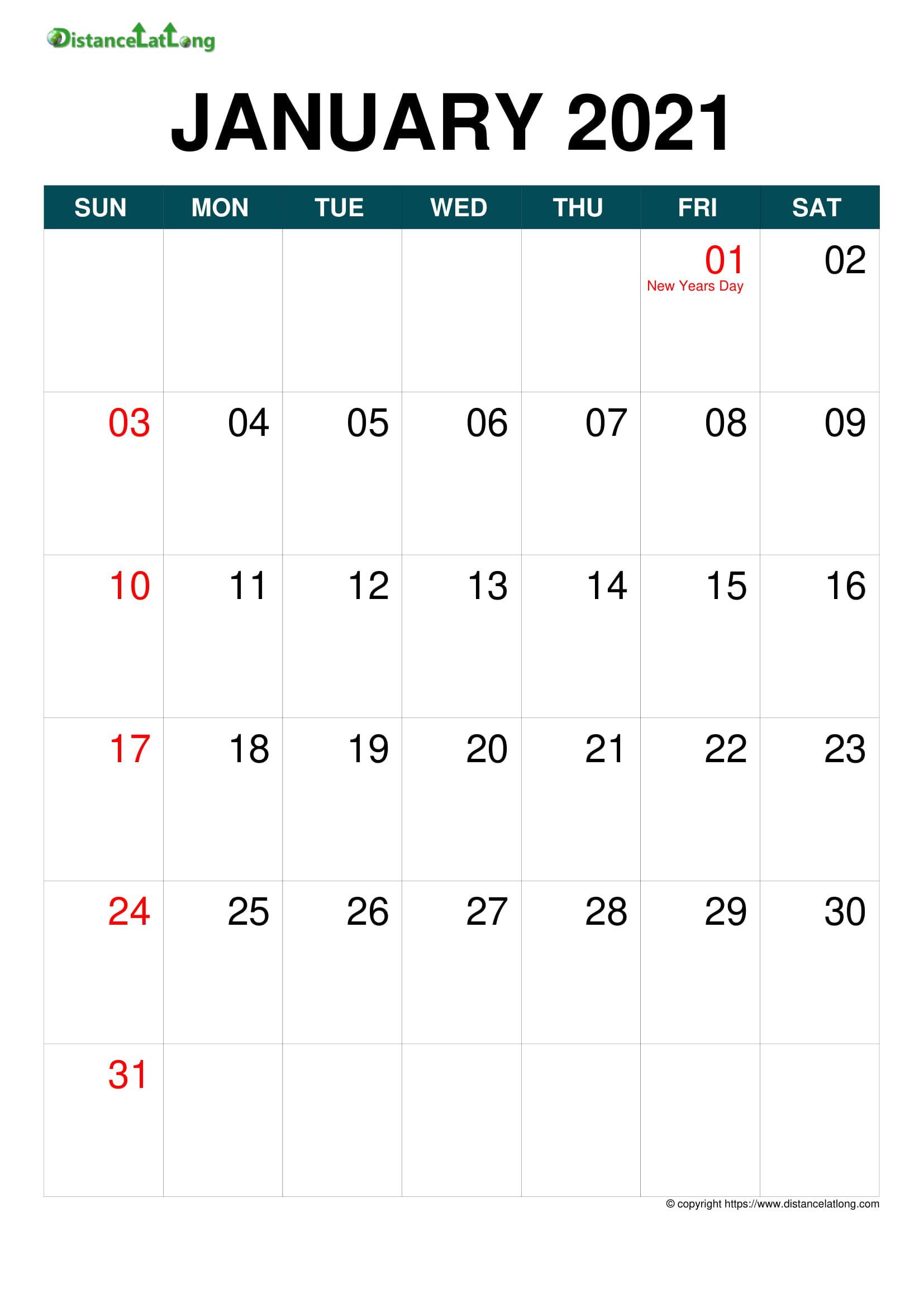 2021 Holiday Calendar Portrait Orientation Free Printable