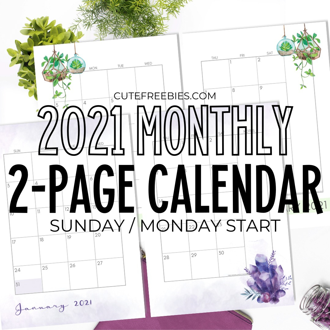 2021 Monthly Calendar Two Page Spread – Free Printable