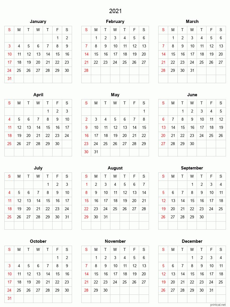 2021 Printable Calendar - Full-Year Calendar (Grid Style)