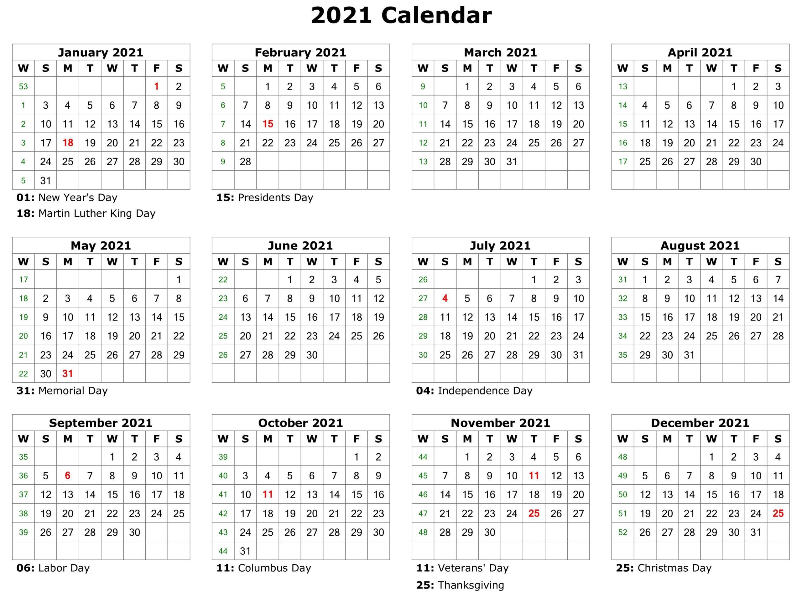 2021 Printable Calendar | Monthly Calendar Printable