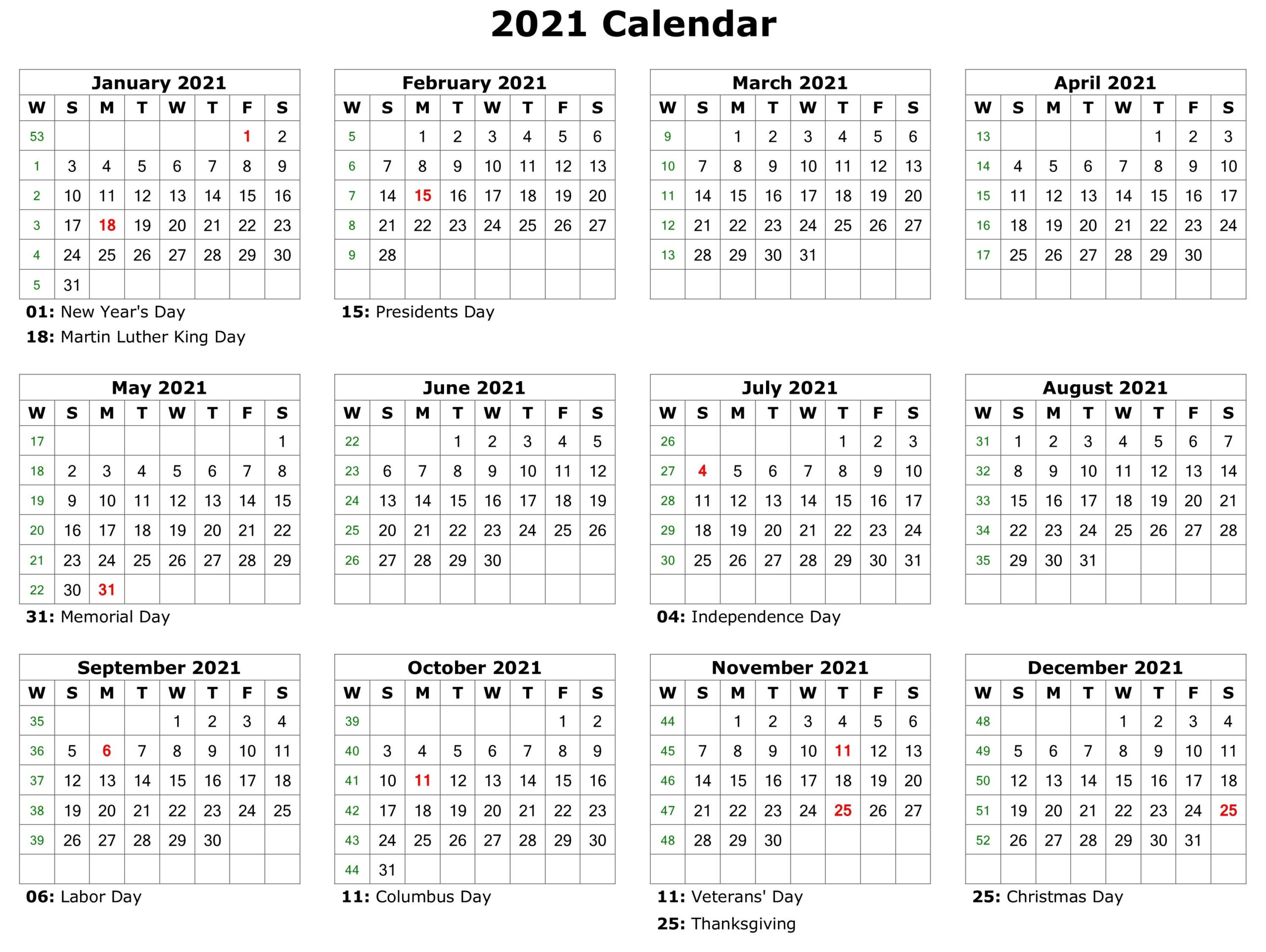 2021 Monthly Calendar Printable Pdf