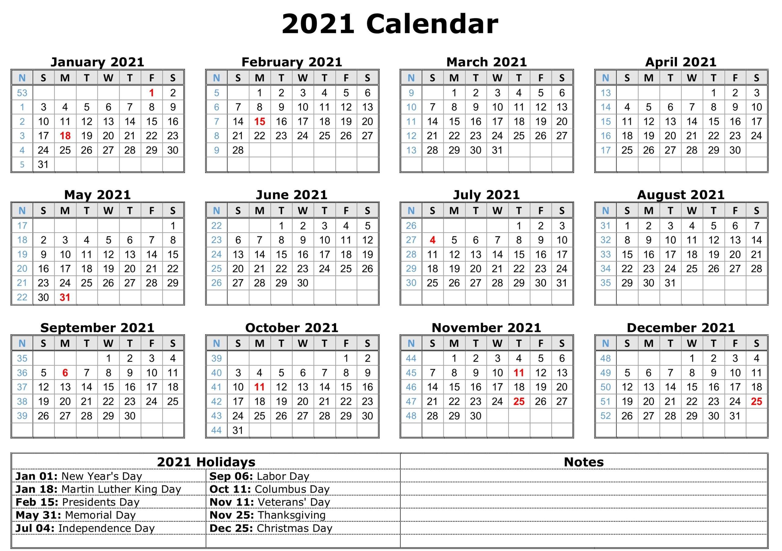 2021 Printable Calendar With Holidays | Free Printable
