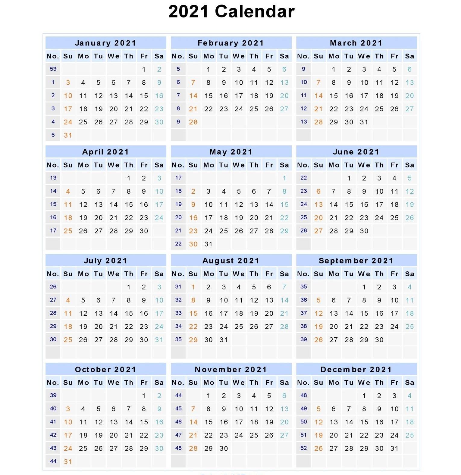 2021 Week Numbers