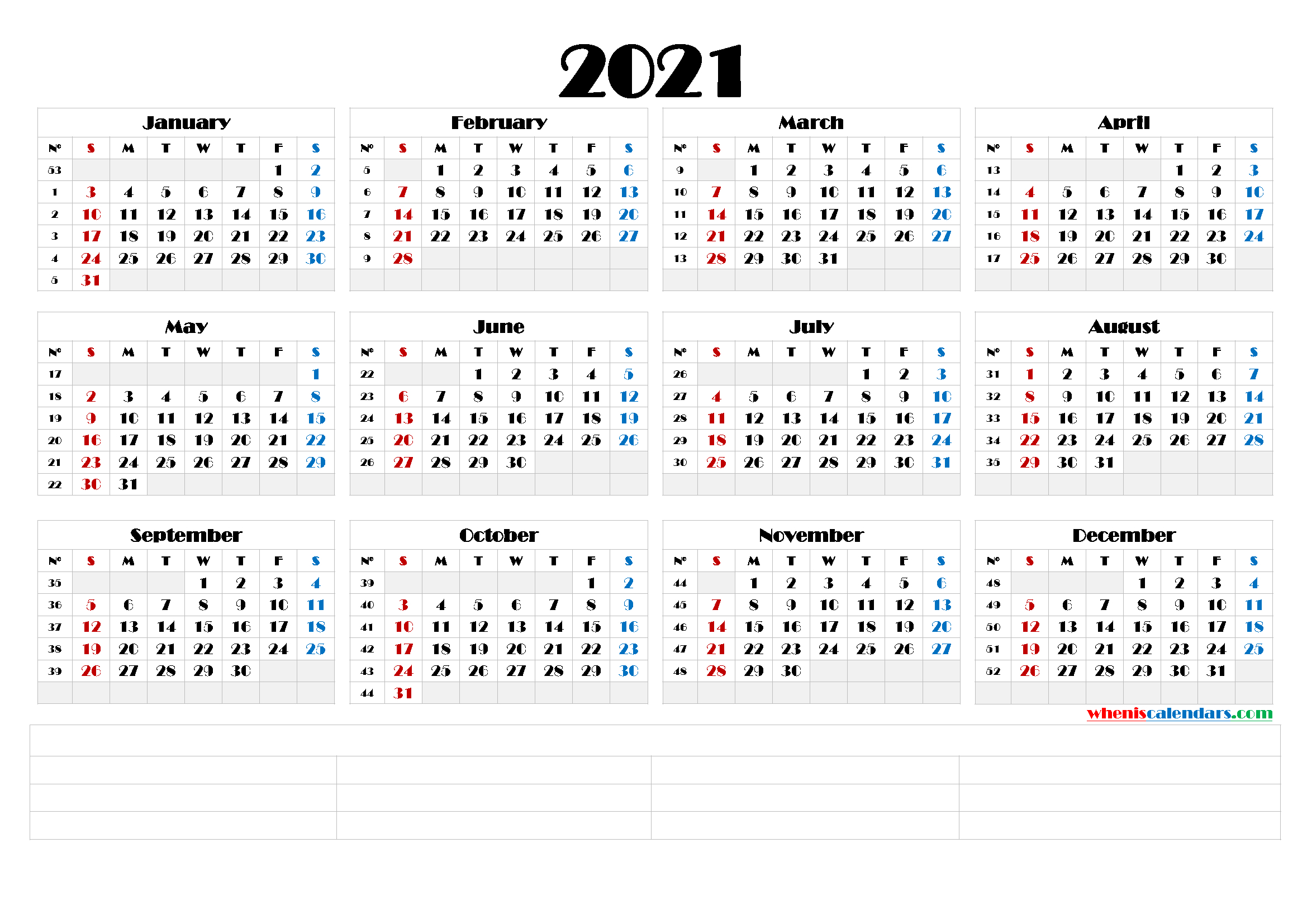 2021 Yearly Calendar Template Word (6 Templates)