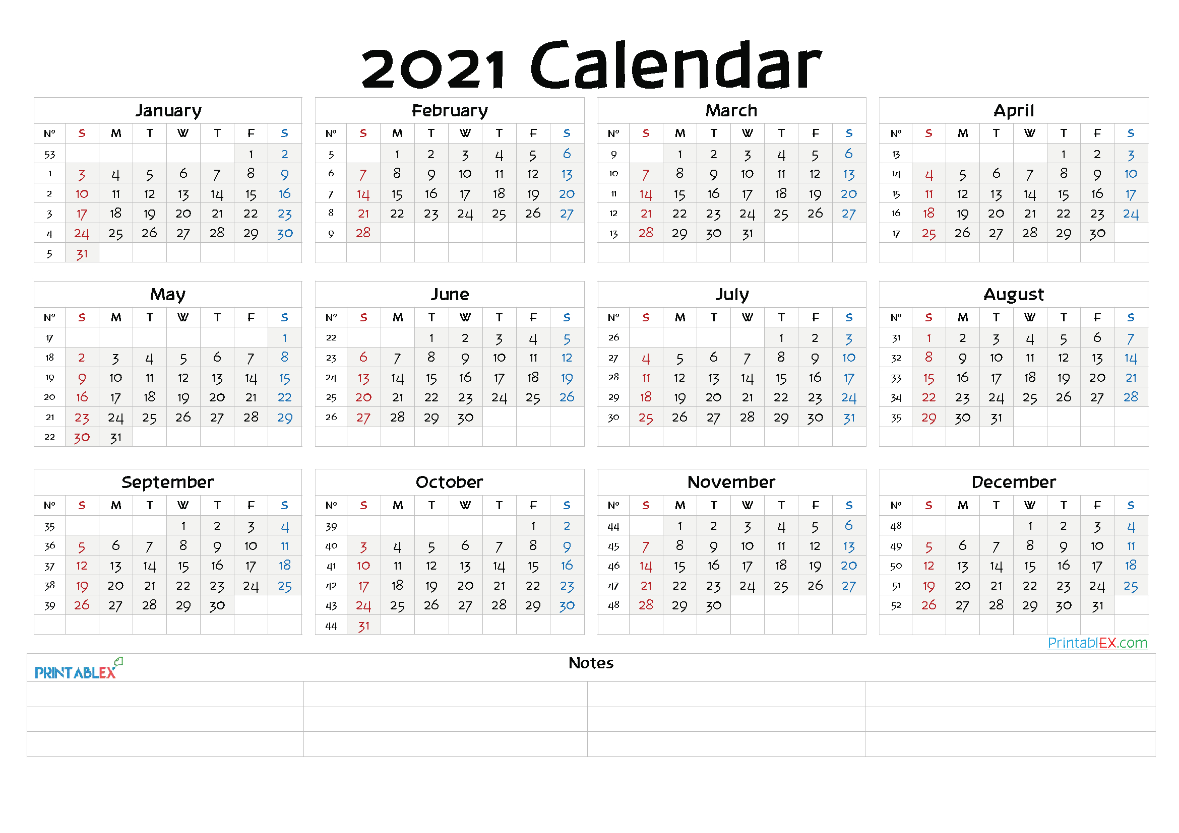 2021 Yearly Calendar Template Word – 6 Templates – Free
