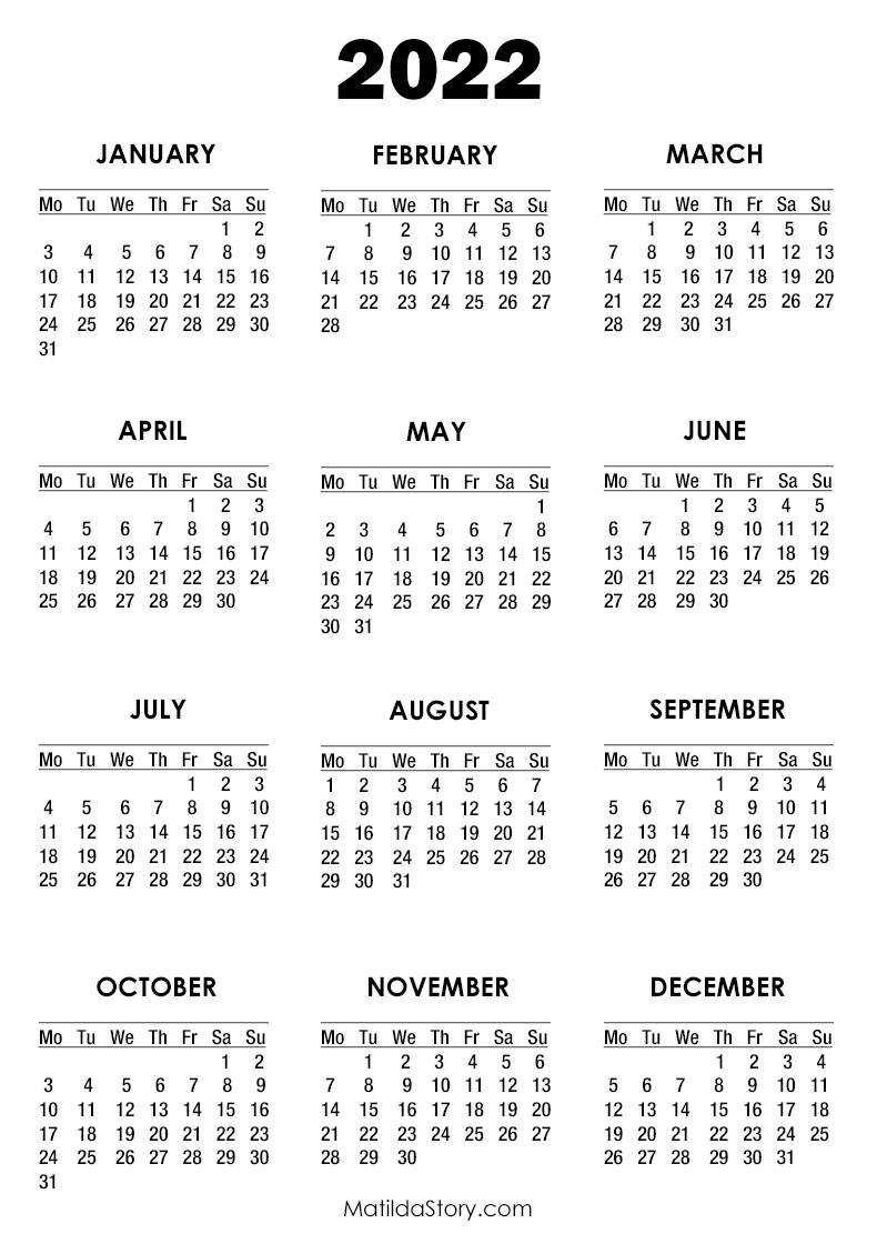 2022 Calendar Printable Free White – Monday Start