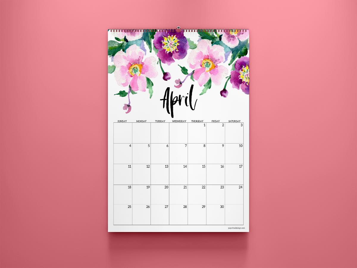 25 Best Free Printable April 2021 Calendars - Onedesblog