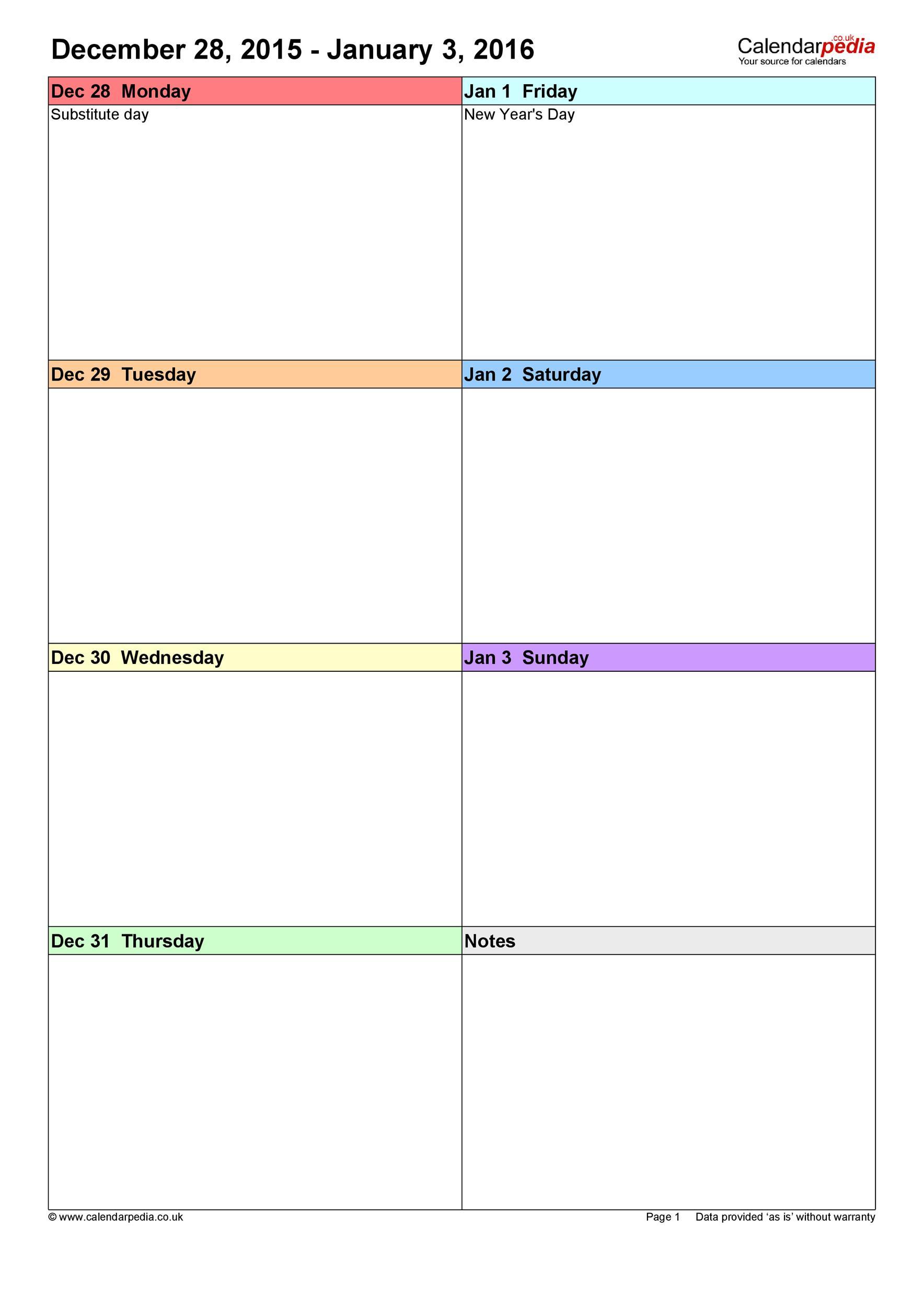 26 Blank Weekly Calendar Templates [Pdf Excel Word] ᐅ