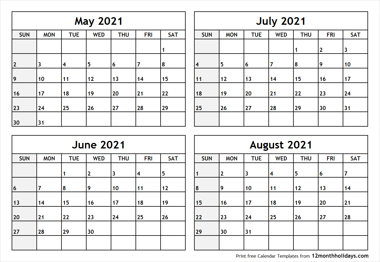 4-Month-May-June-July-August-2021-Calendar - All 12 Month