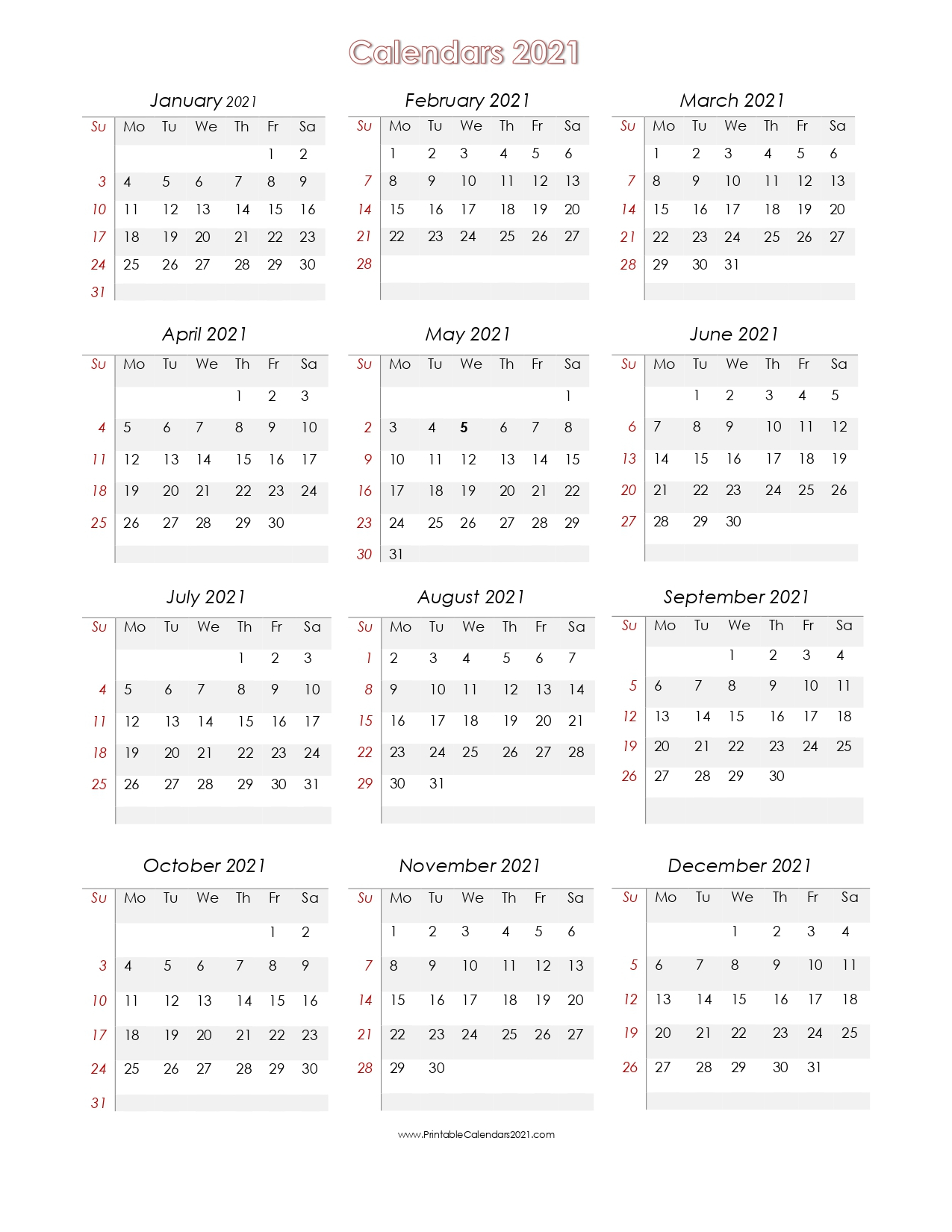 56+ Printable Calendar 2021 One Page Us 2021 Calendar