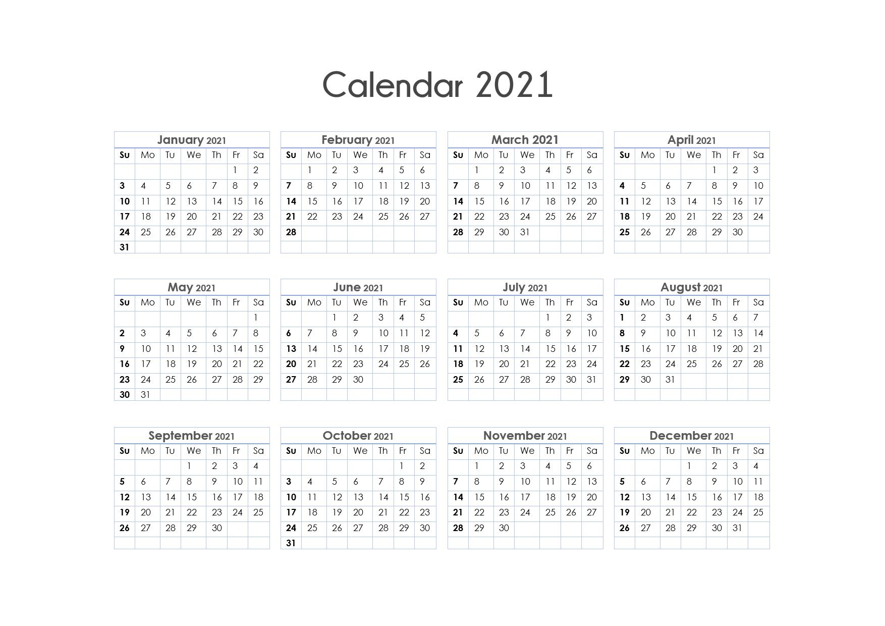 56+ Printable Calendar 2021 One Page Us 2021 Calendar