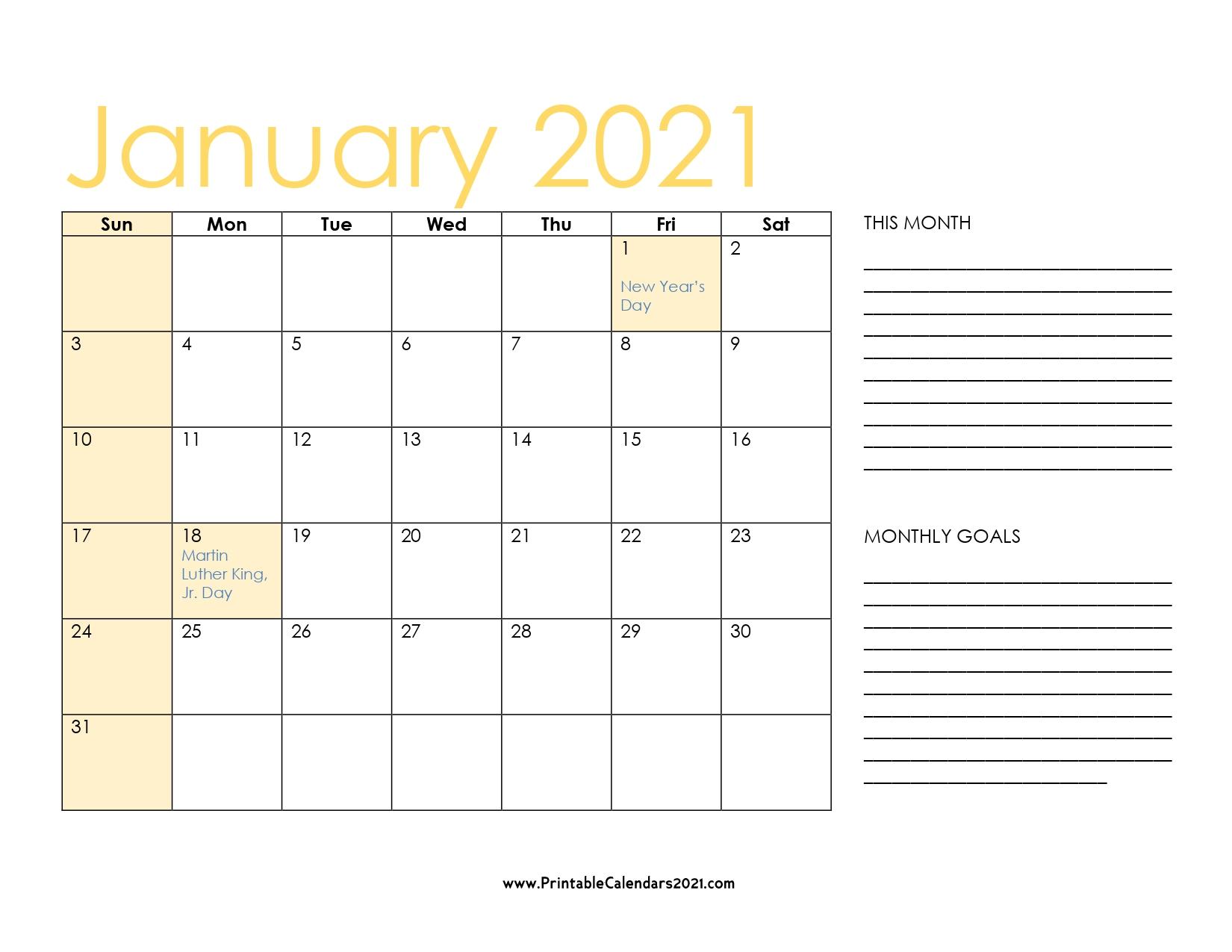 65+ January 2021 Calendar Printable January 2021 Calendar