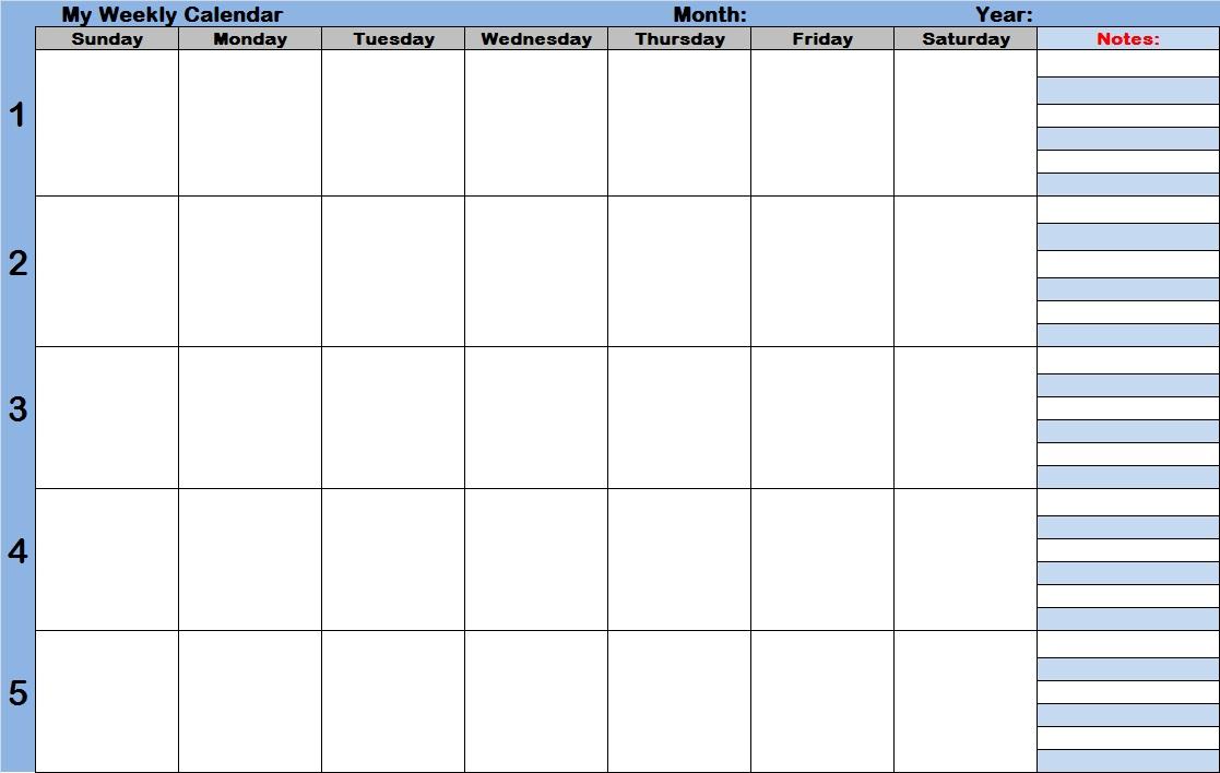 7 Best Printable Weekly Calendar With Time Slots